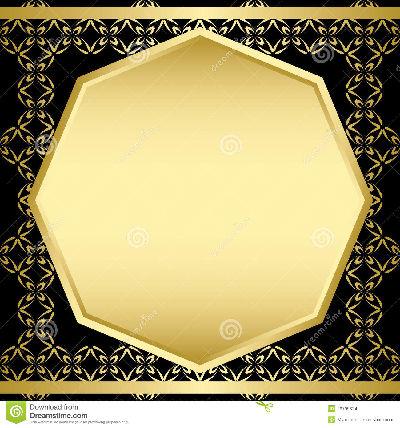 Black Card With Gold Frame Vector Stock Vector Illustration Of