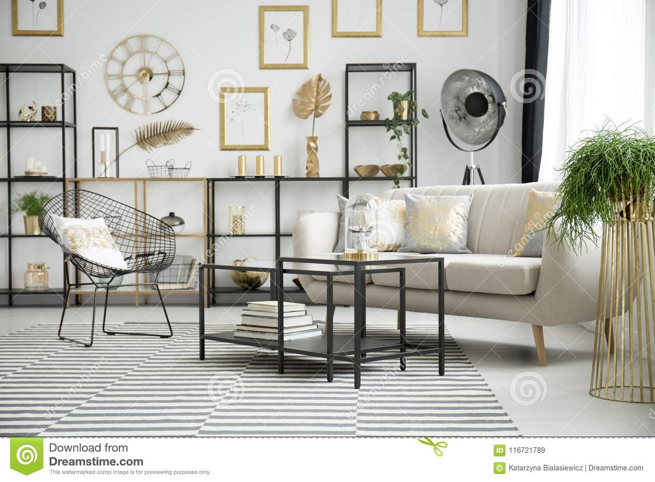 Gold And Black Living Room Stock Image Image Of Couch 116721789