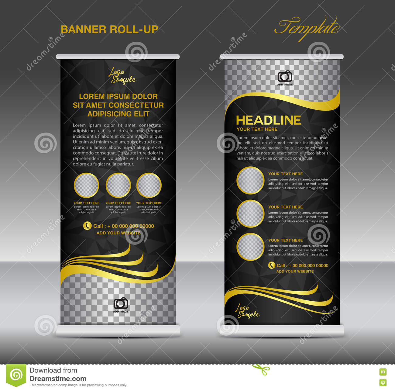 gold and black roll up banner template vector stand flyer. Black Bedroom Furniture Sets. Home Design Ideas