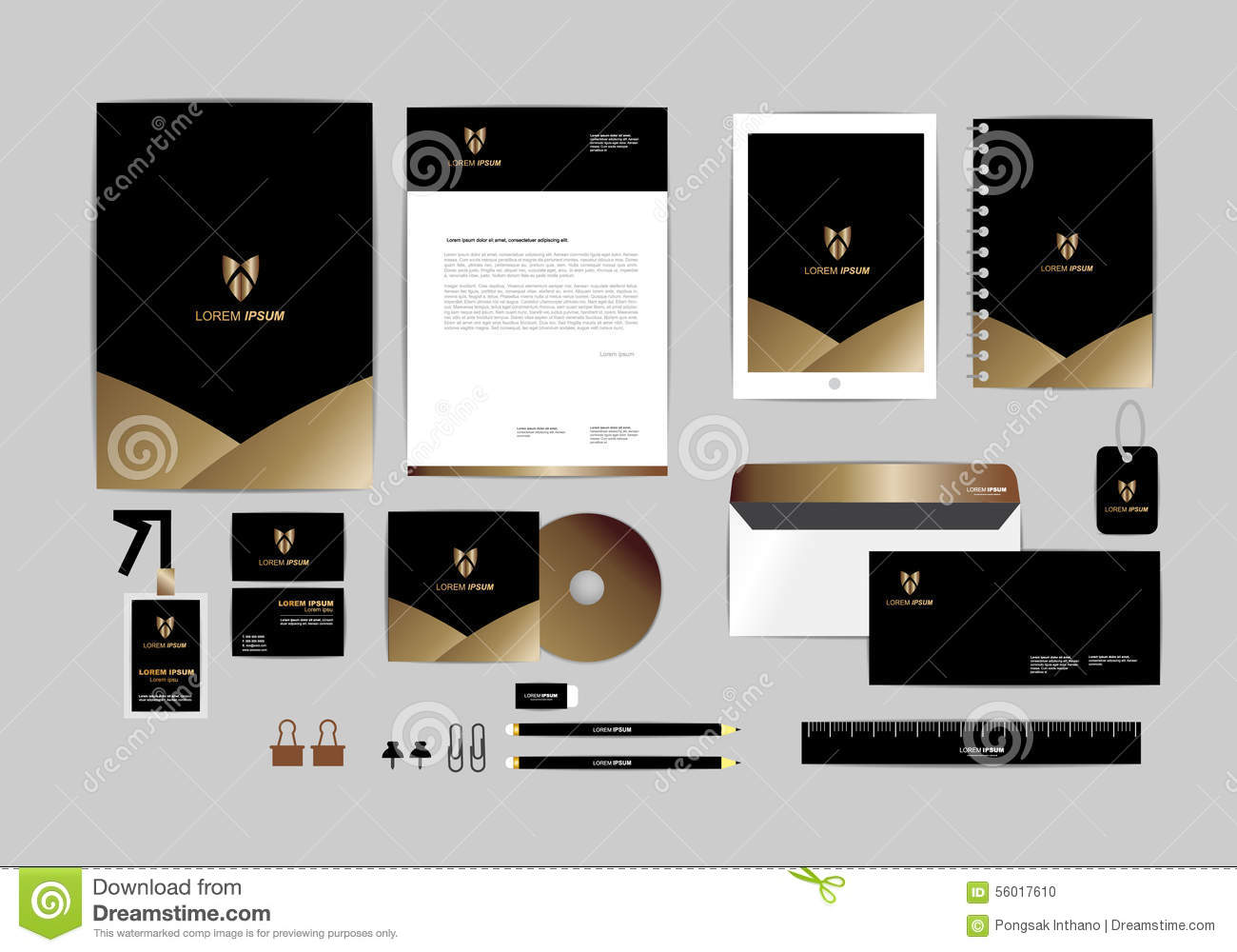 Gold Black And Silver Corporate Identity Template For