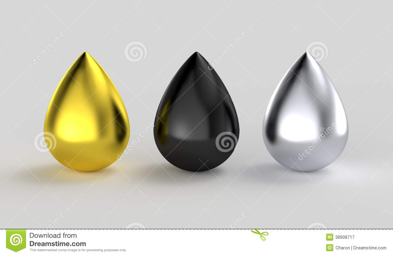Gold Black Silver Metallic Ink Drops Stock Illustration