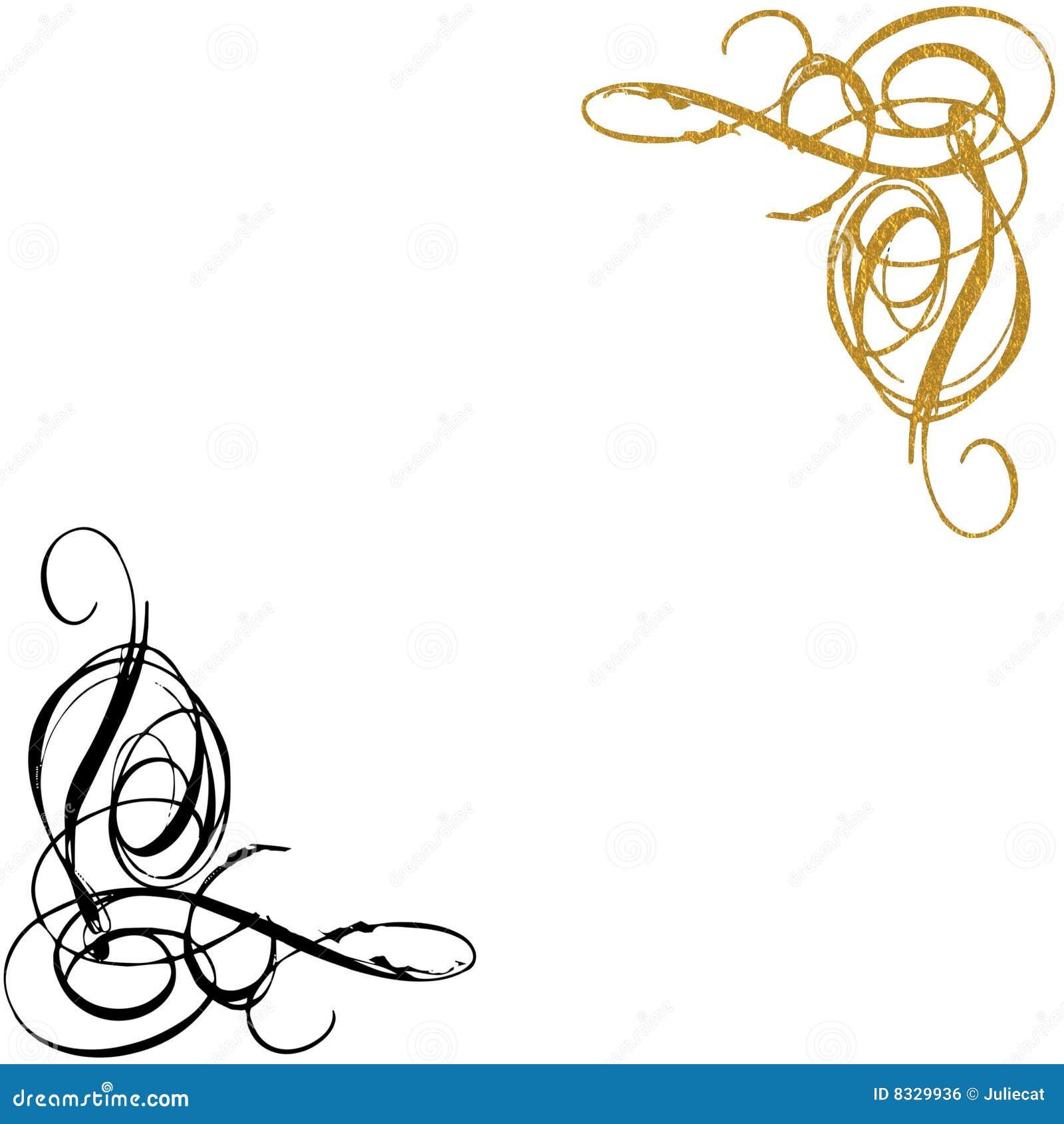 Gold And Black Swirls Background Stock Illustration