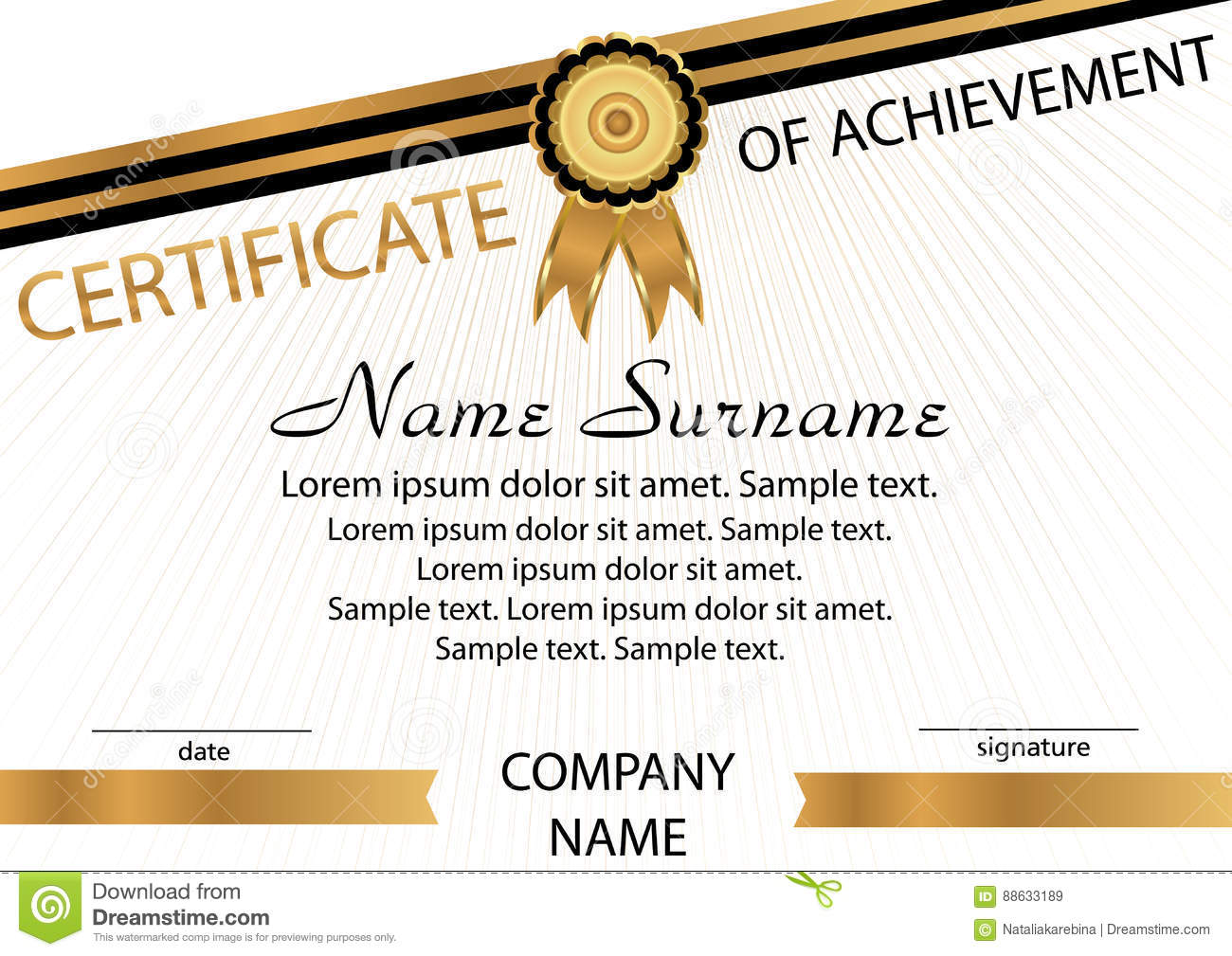 Gold And Black Template Certificate Of Achievement. Elegant Back  Certificate Of Achievement Sample