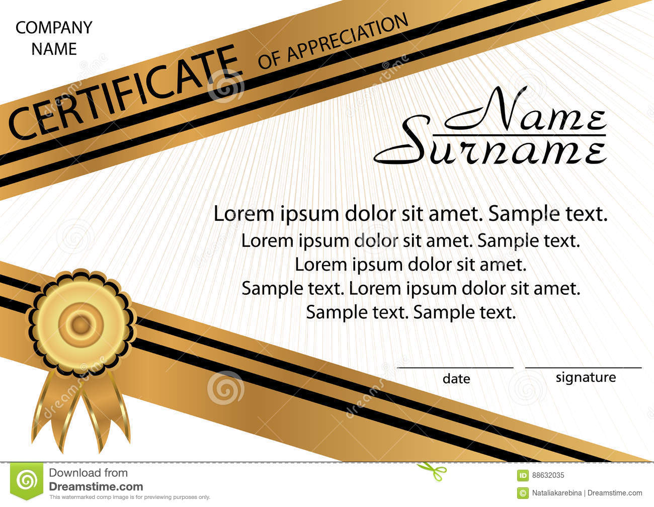 gold and black template certificate of appreciation elegant bac