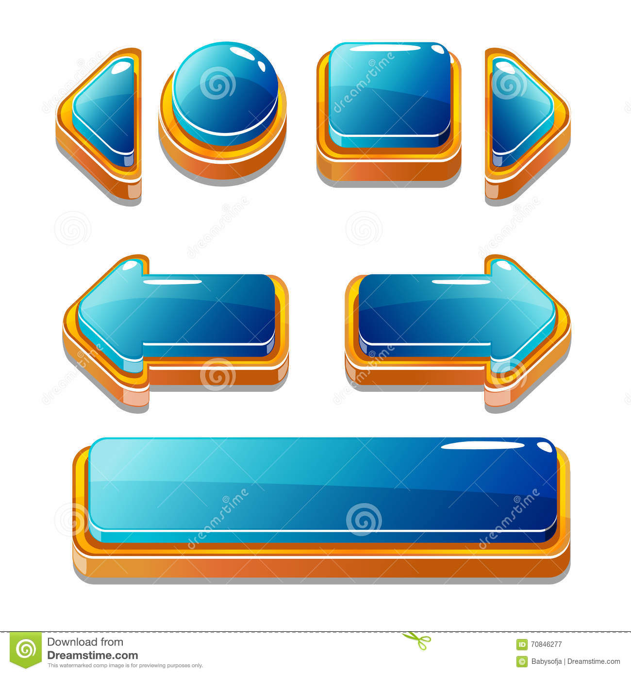 Gold And Blu Buttons For Game Or Web Design Stock Vector - Image ...