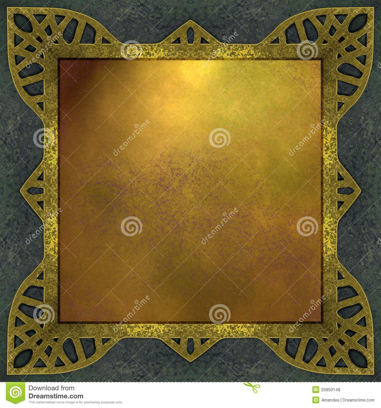 gold and blue background with design frame stock