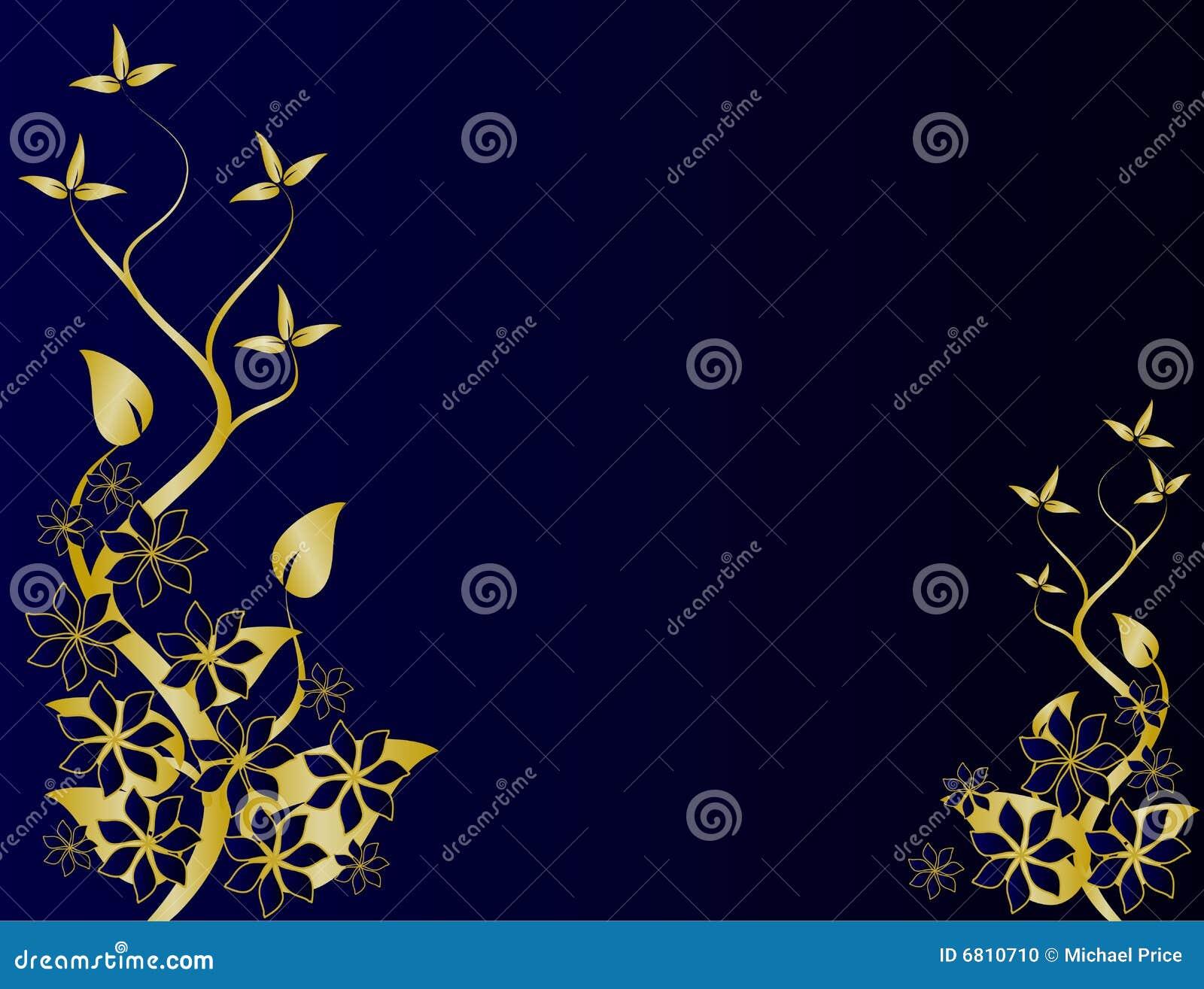 Gold Blue Floral Background