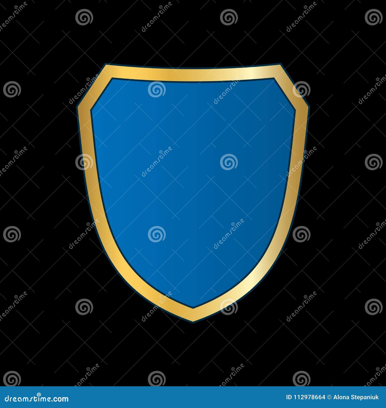 Gold-blue shield shape icon. Bright logo emblem metallic sign isolated on black background. Empty shape shield. Symbol