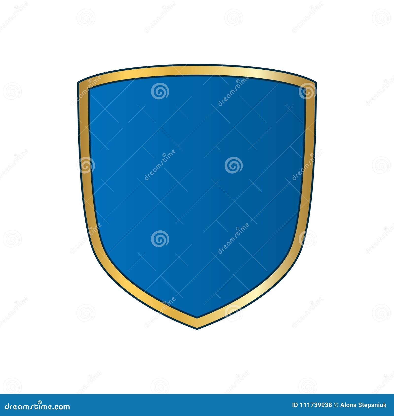 Gold-blue Shield Shape Icon  Bright Logo Emblem Metallic