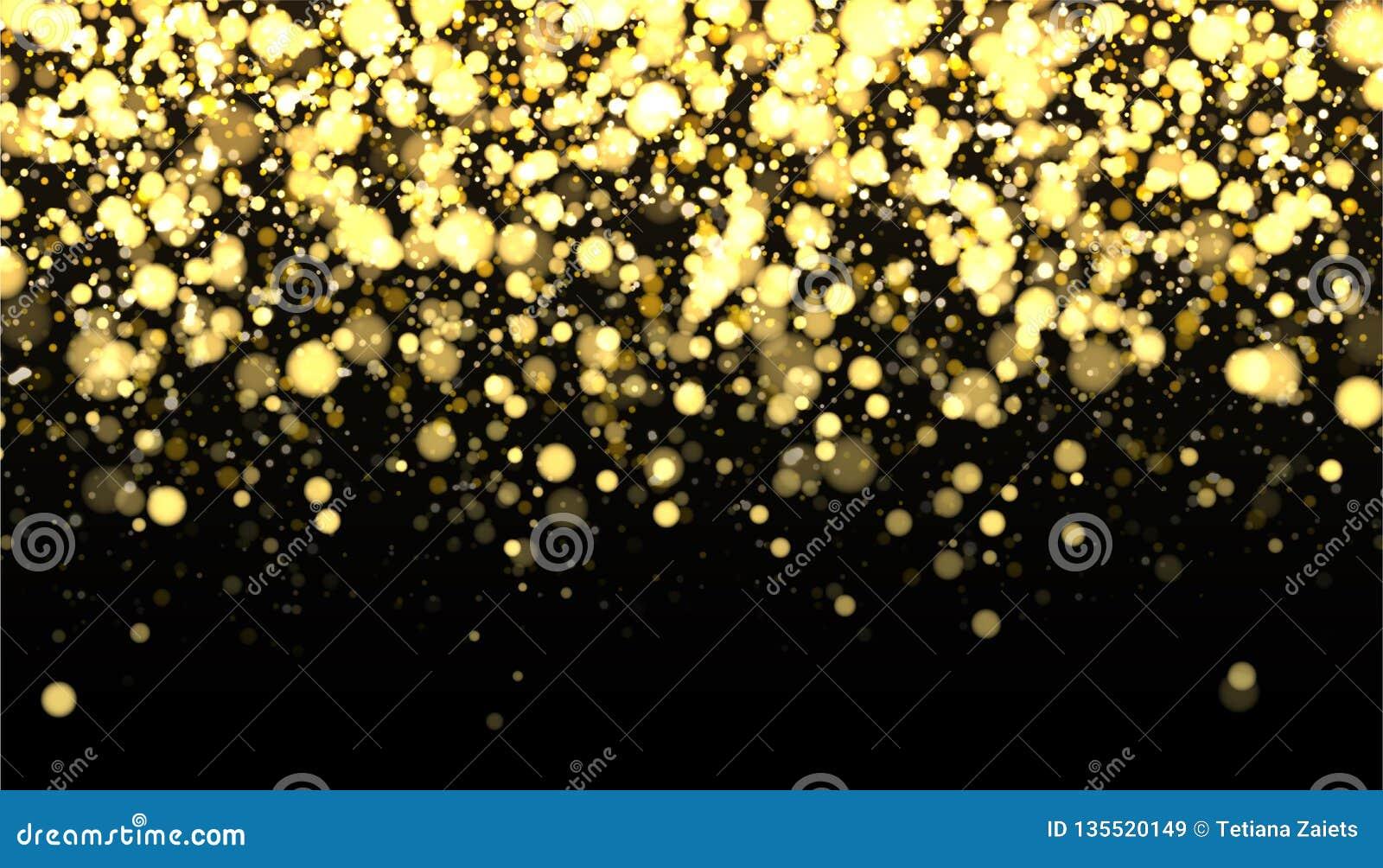 Gold blurred border on black background. Glittering falling confetti backdrop. Golden shimmer texture for luxury design