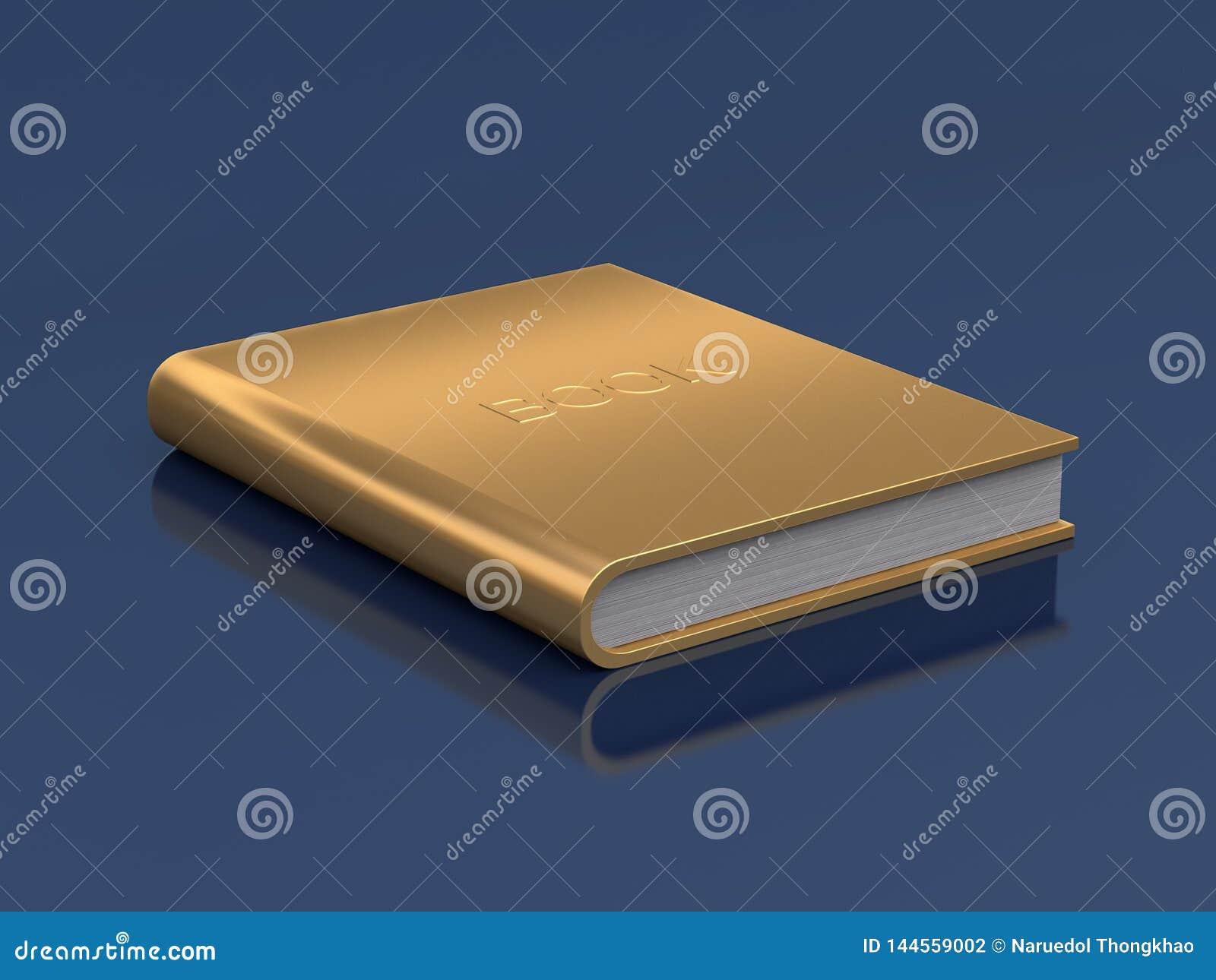 Gold book on floor reflection 3d render
