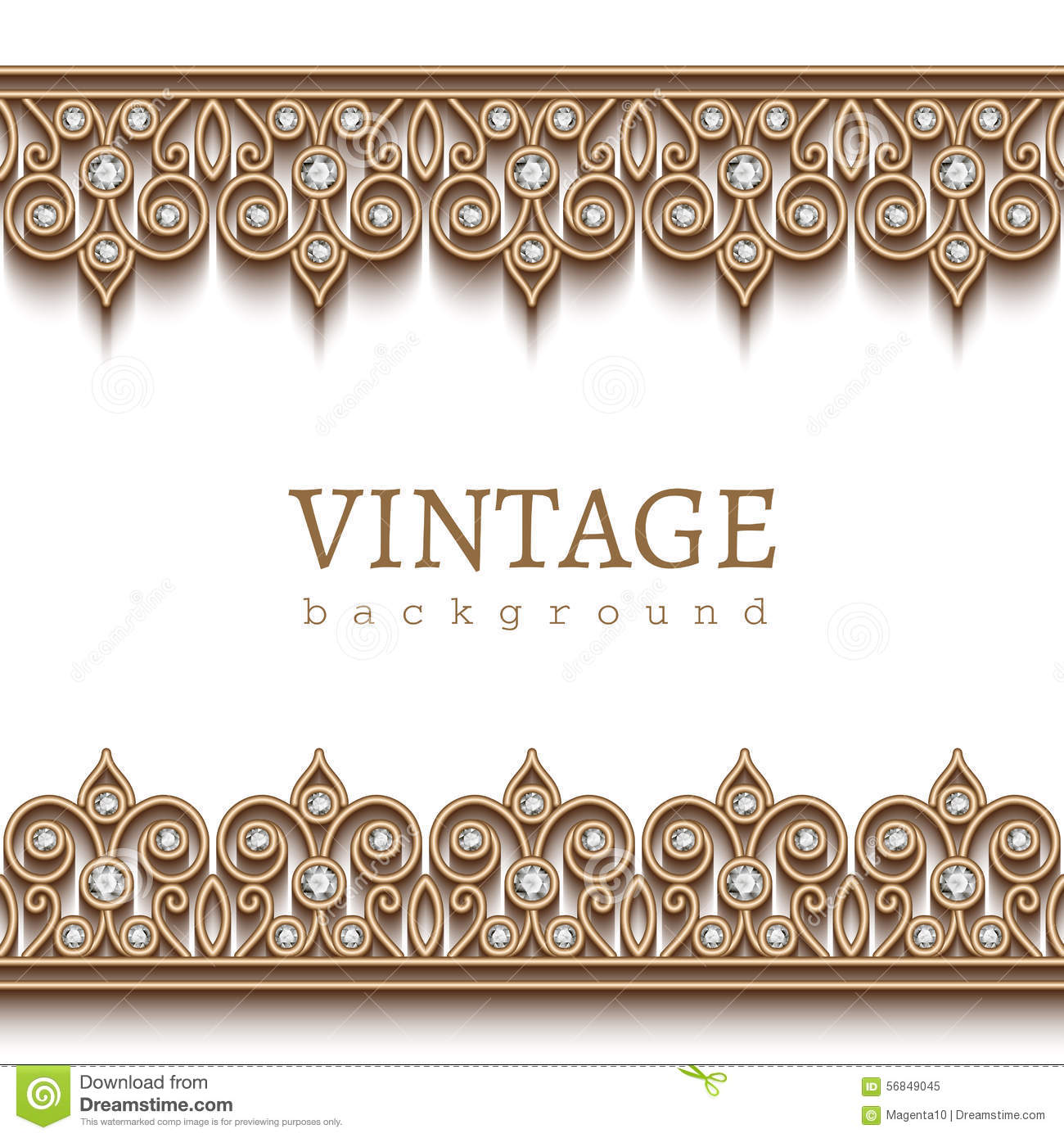 Gold Border Frame On White Stock Vector Illustration Of Abstract
