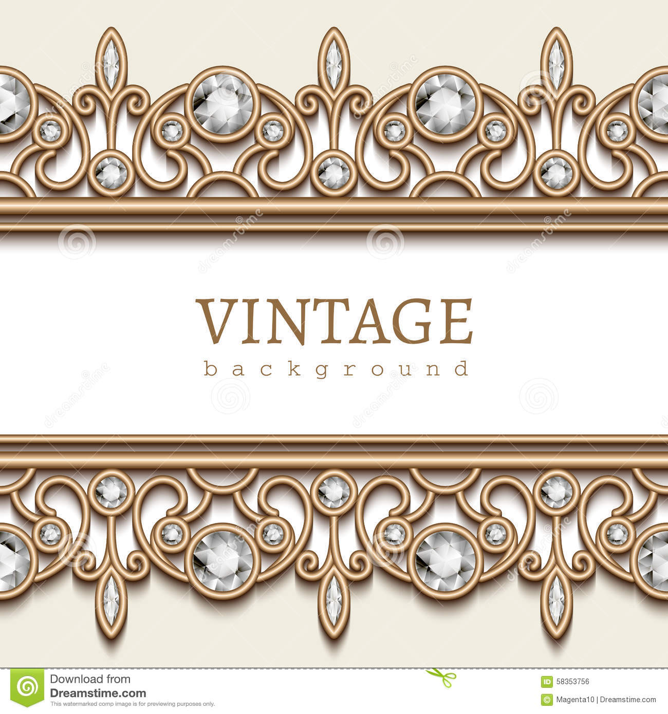 Vintage gold frame with jewelry borders on white background.