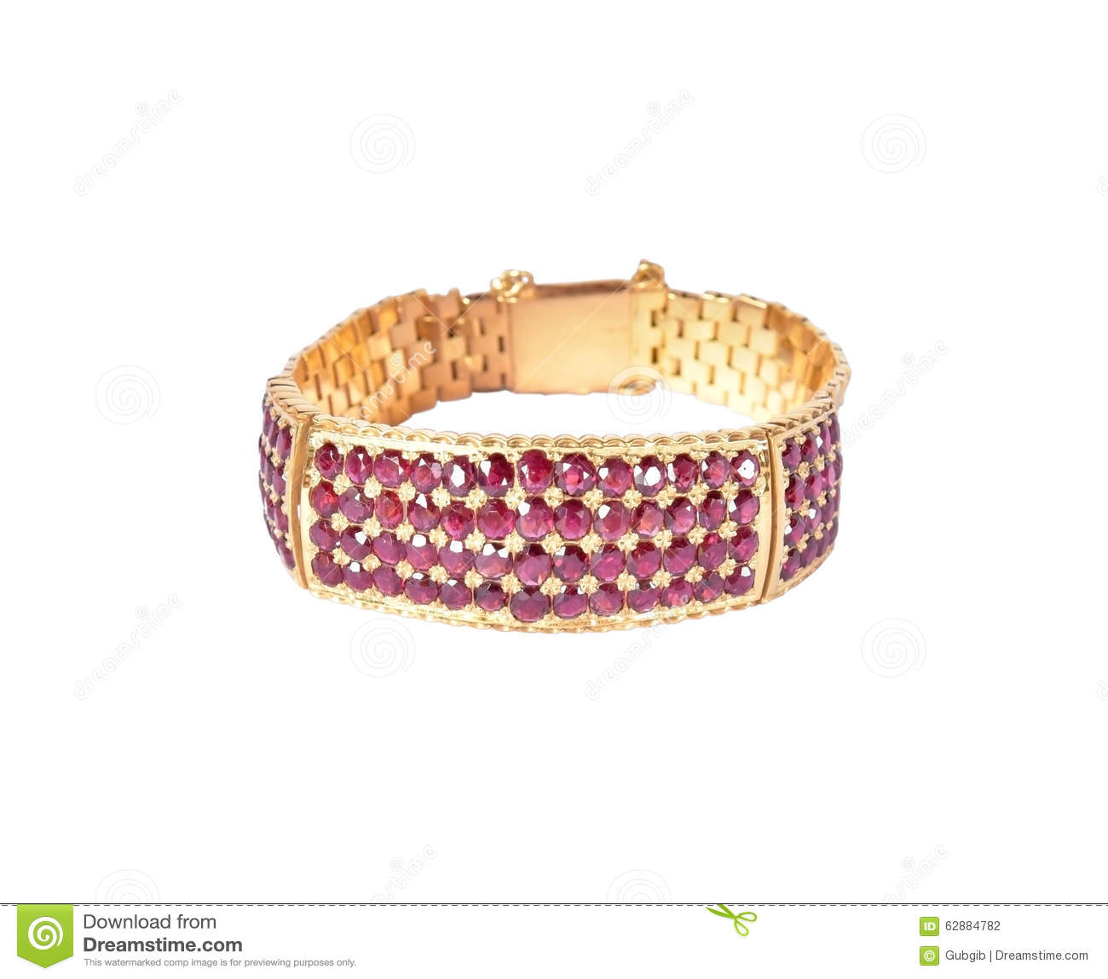 gold bracelet with ruby gems stock photo image 62884782