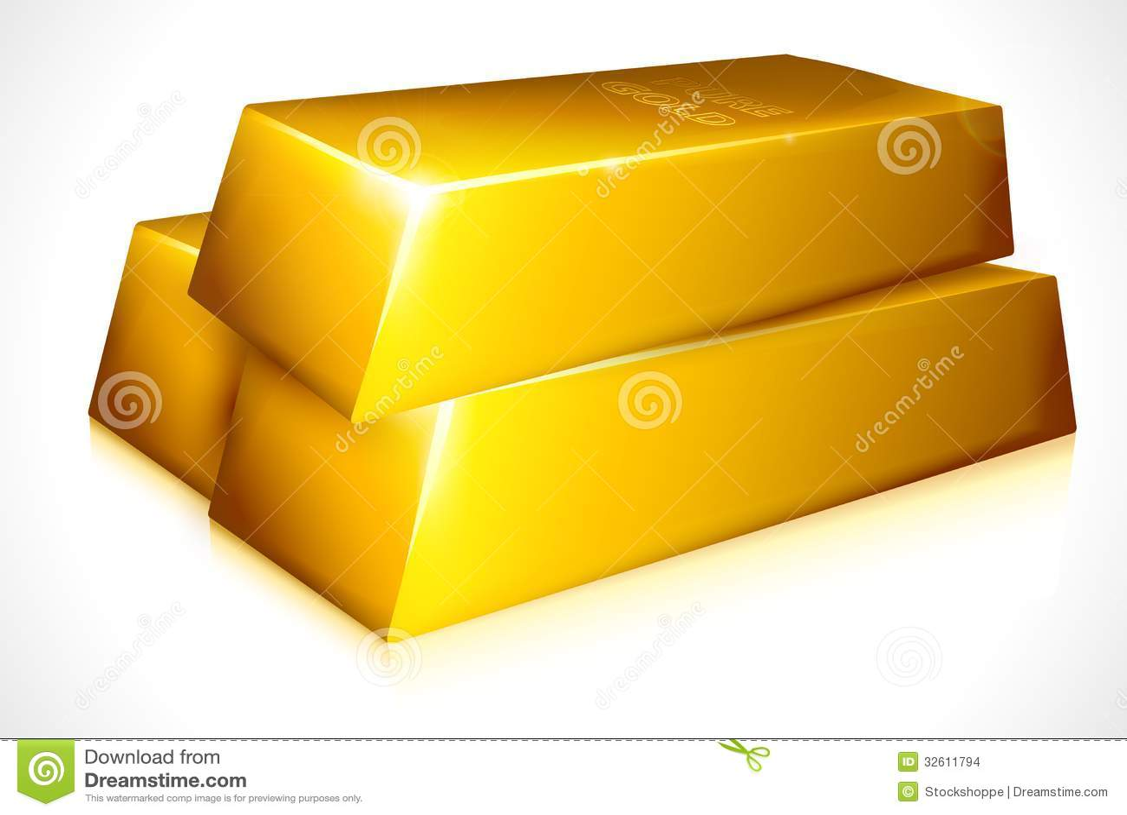 Vector illustration of gold brick against white background.
