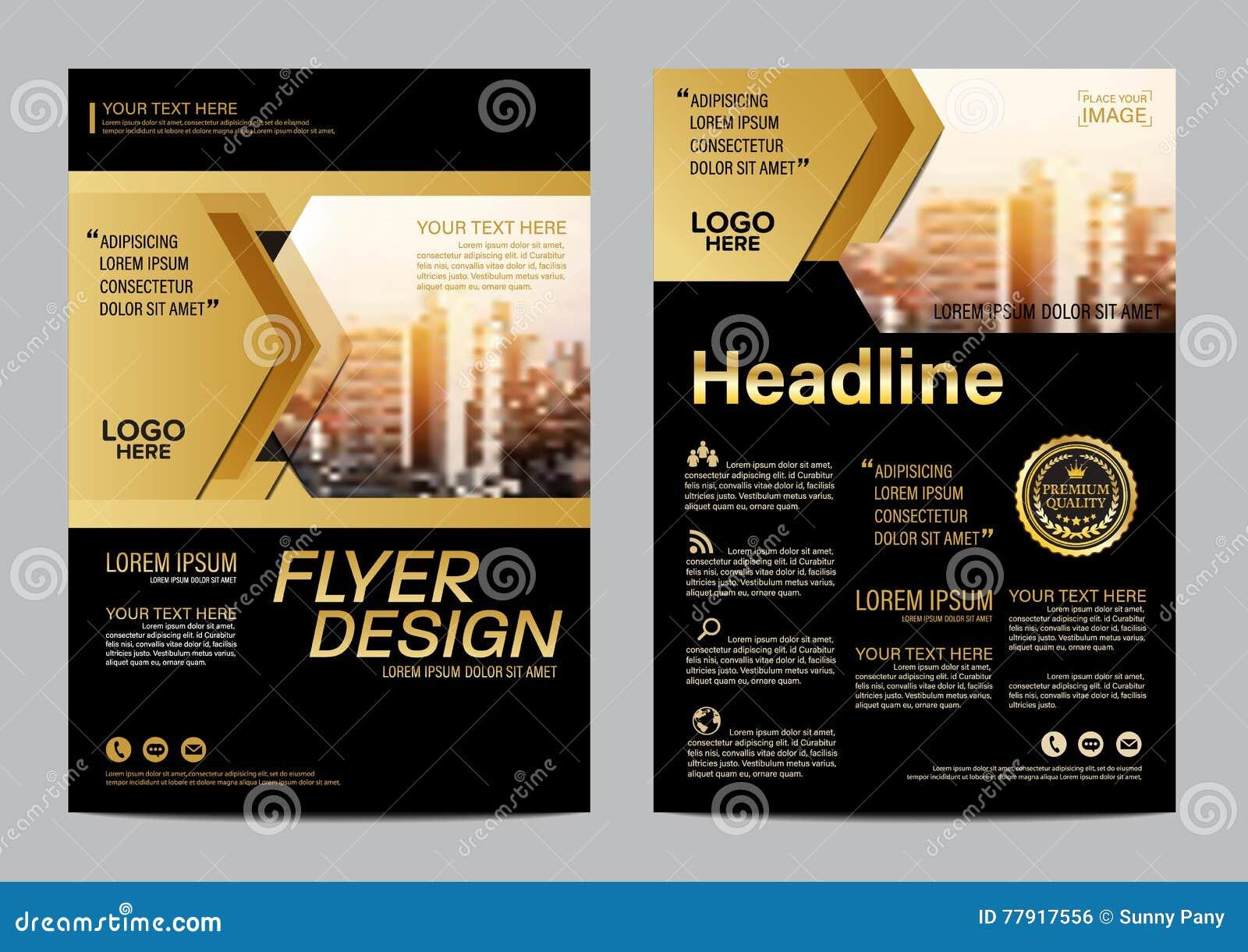 Gold Brochure Layout design template. Annual Report Flyer Leaflet cover Presentation Modern background. illustration vector in A4