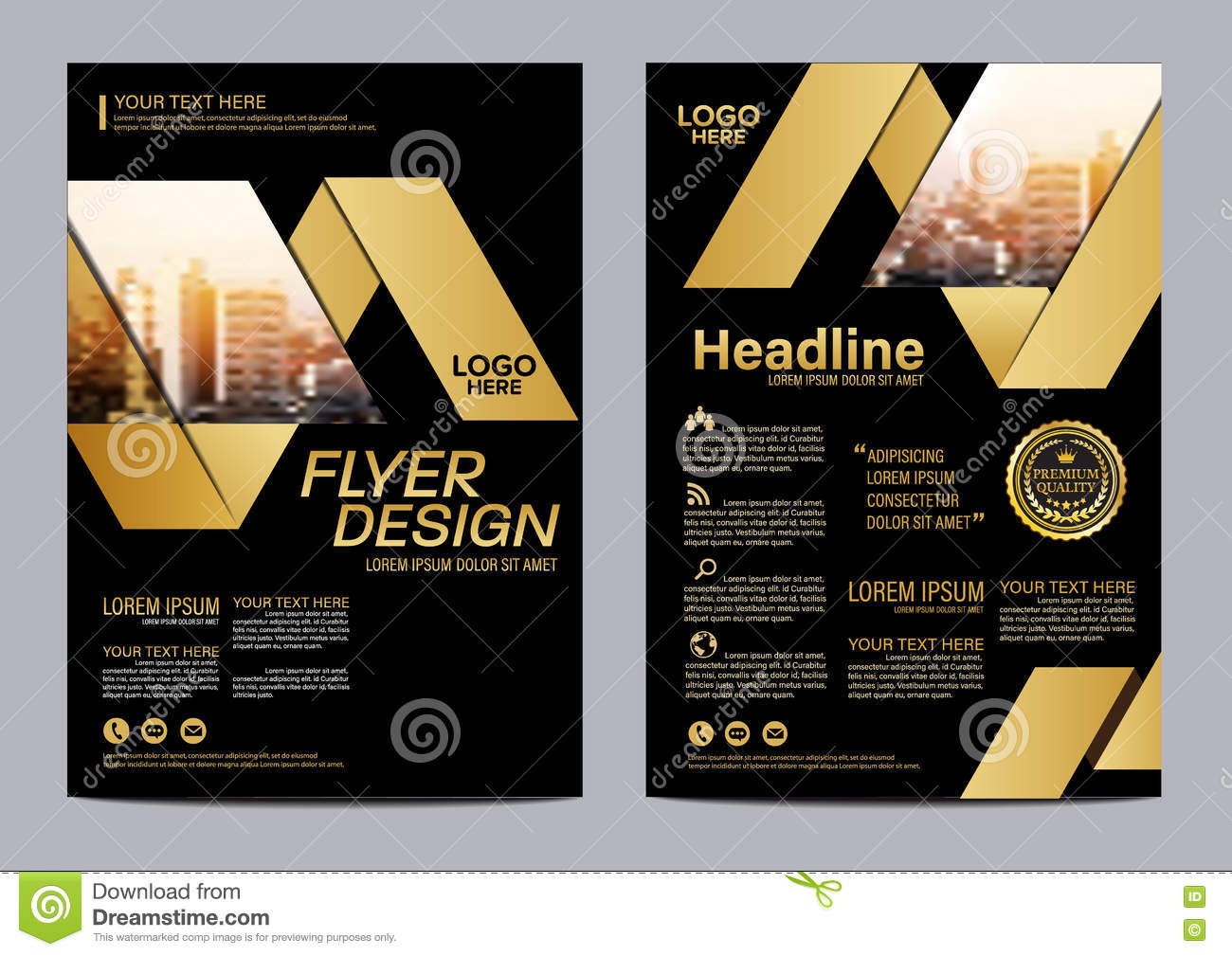 gold brochure layout design template  annual report flyer