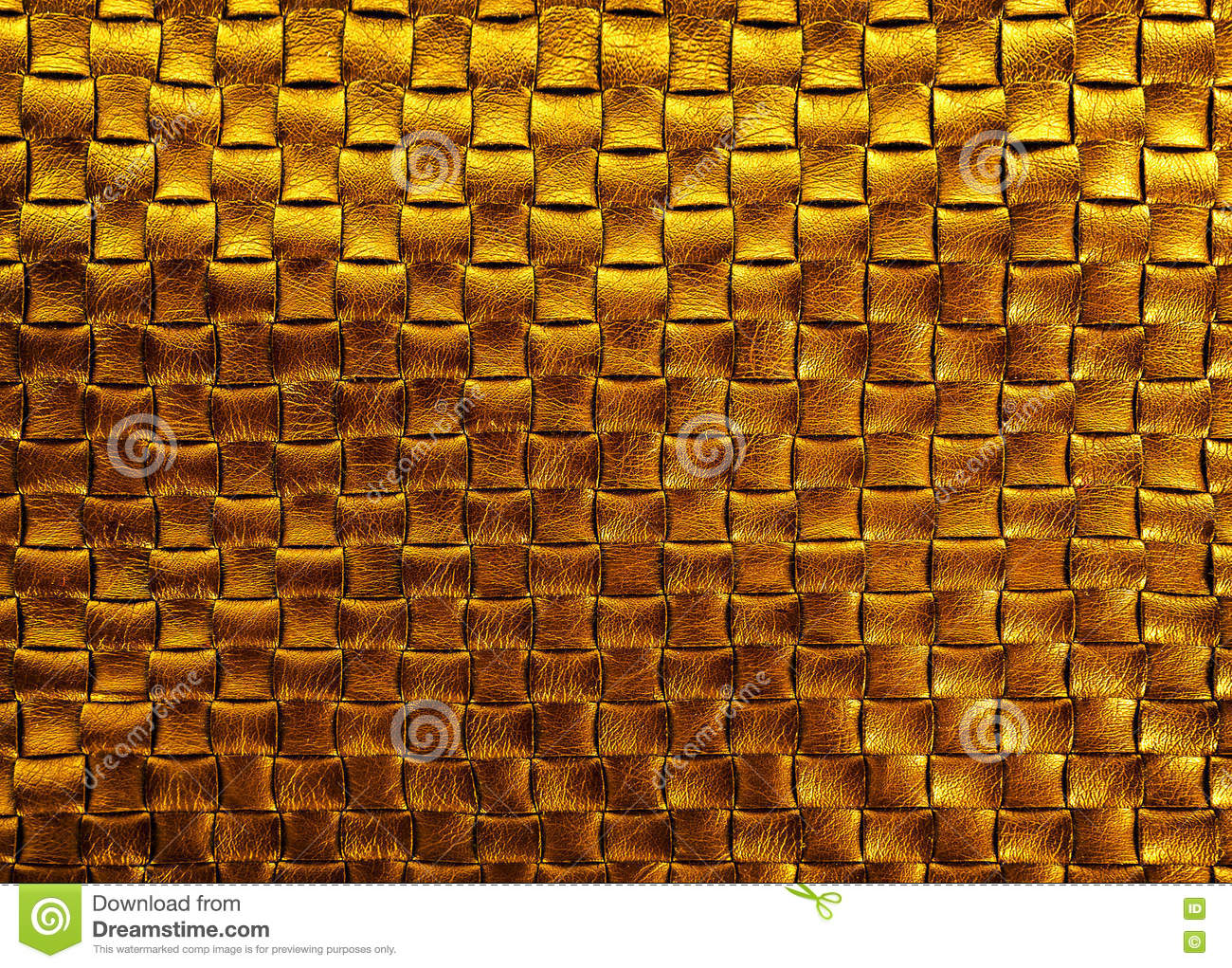 Gold bronze braided leather texture background