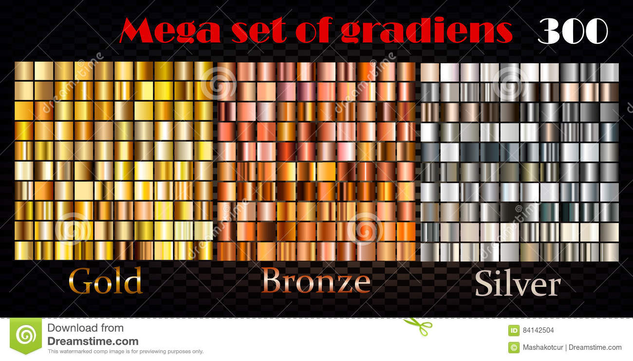 Gold, bronze and silver gradients. Huge vector collection