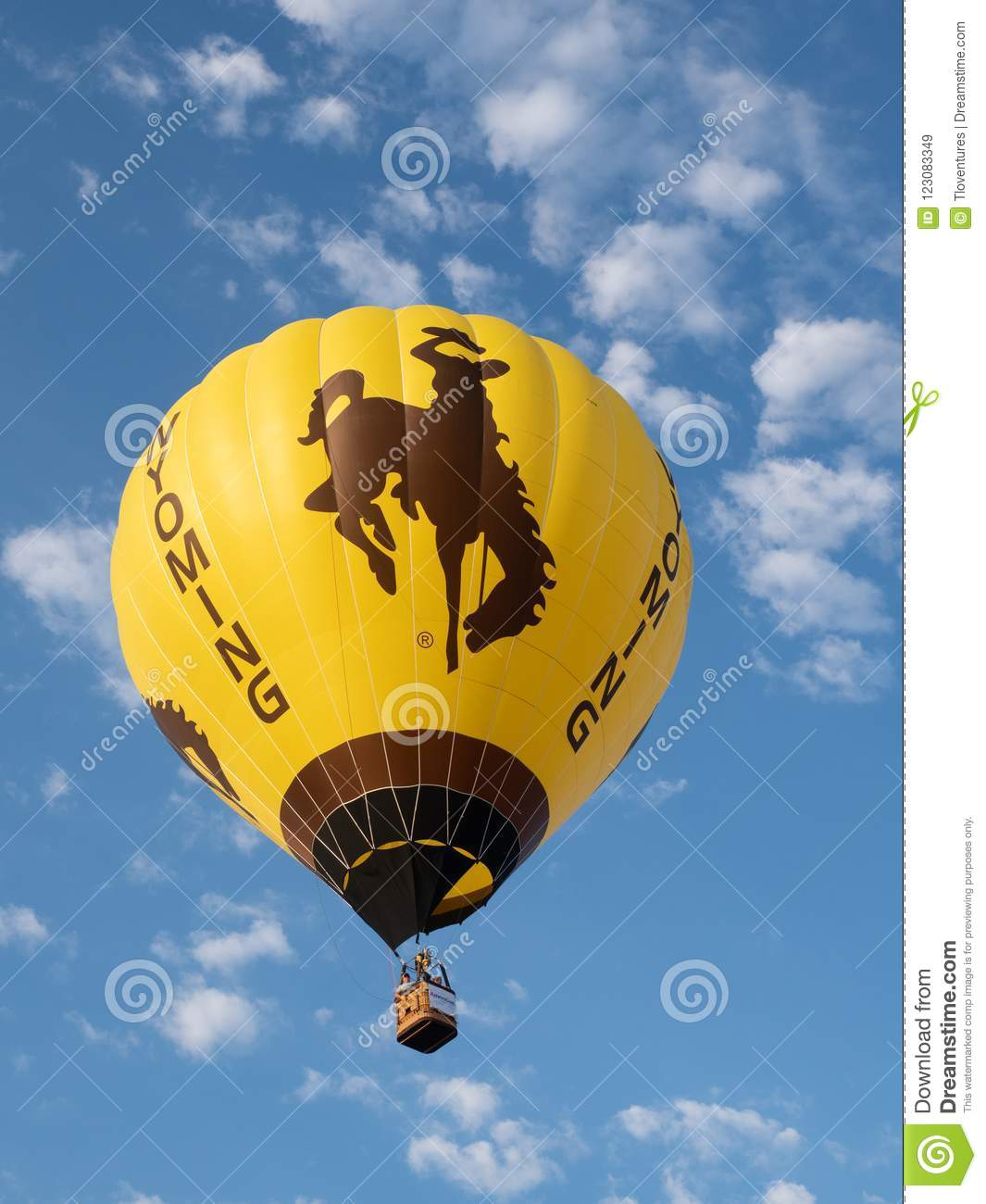 A Wyoming Hot Air Balloon With Bucking Bronco Flying At Big Sky