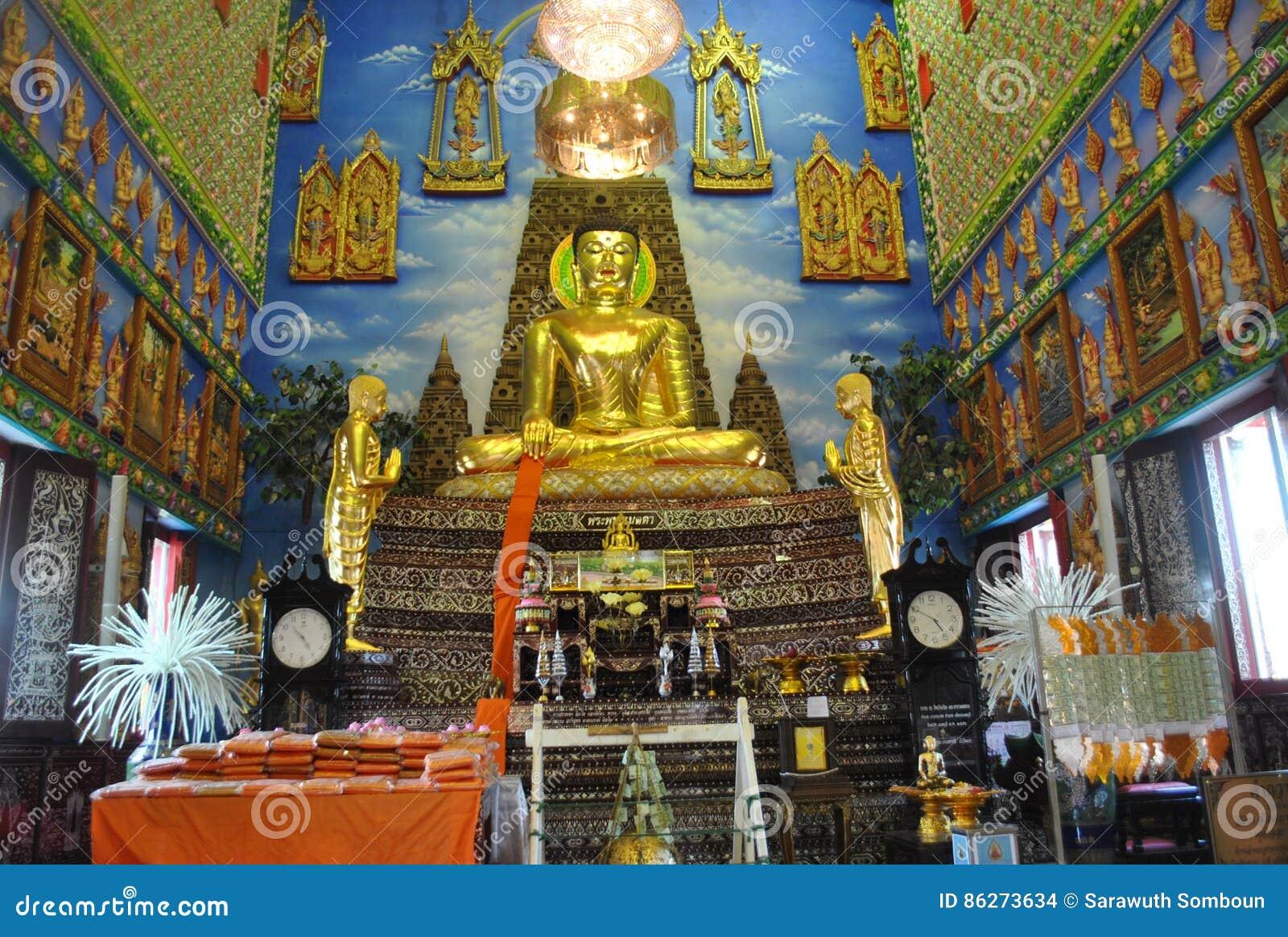 Gold buddha statue Architectur Insight buddhist building wat buakwan nonthaburi thailand