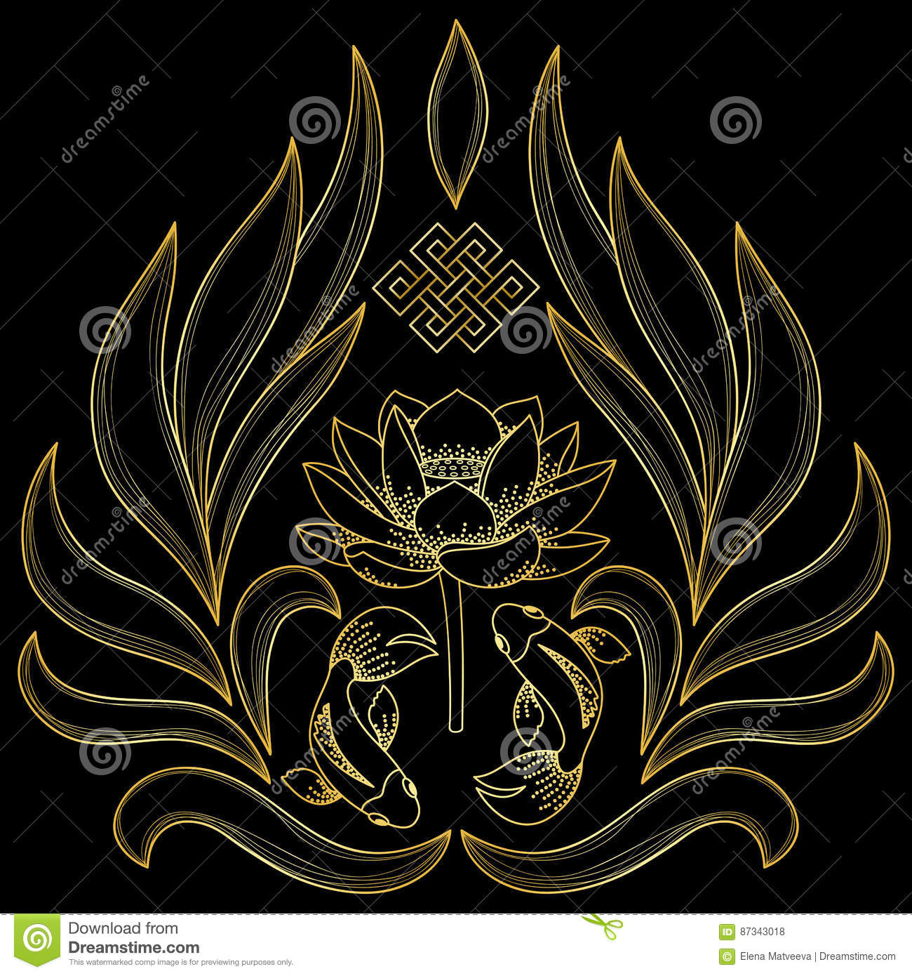 Gold Buddhism Symbols Stock Vector Illustration Of Symbol 87343018