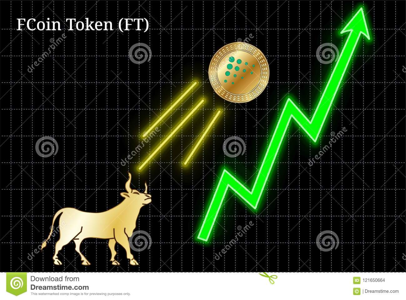 Gold Bull, Throwing Up FCoin Token FT Cryptocurrency Golden Coin Up
