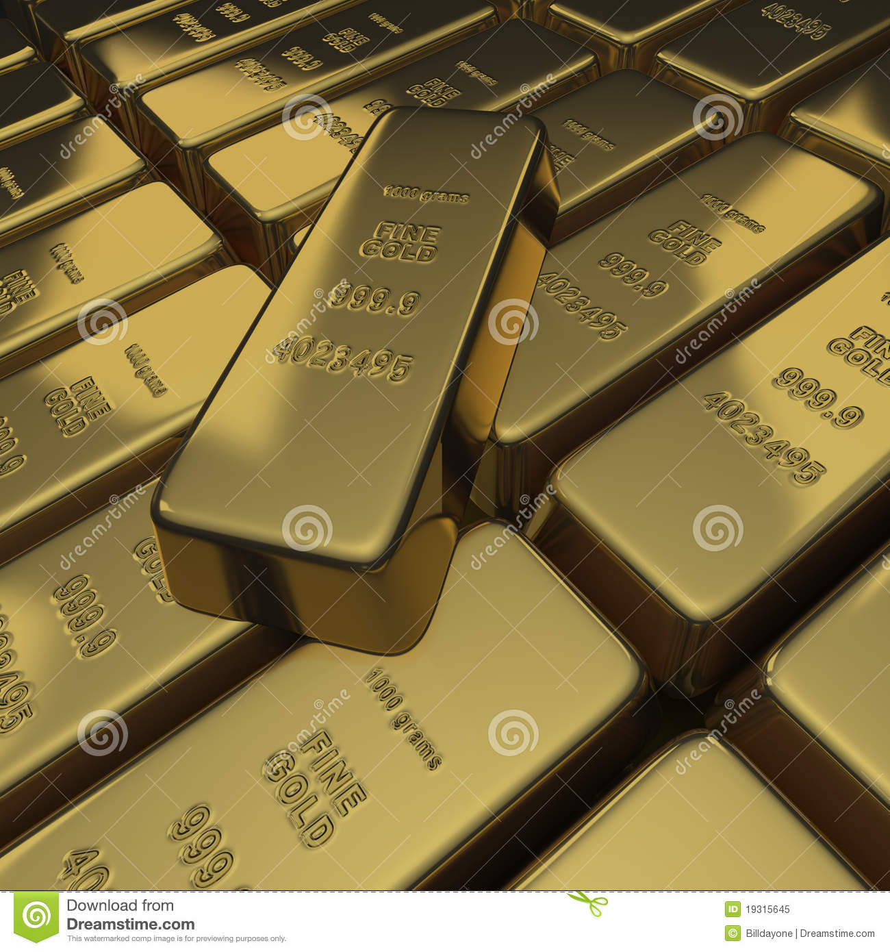 Gold Bullion Or Ingots As A Stack Stock Illustration