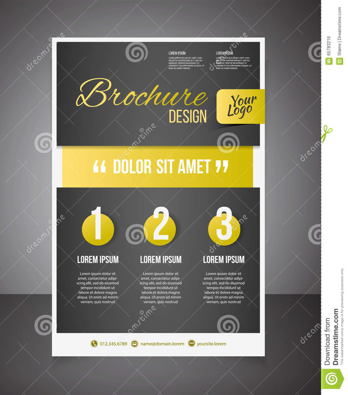 Gold Business Brochure Or Offer Flyer Design Template Brochure
