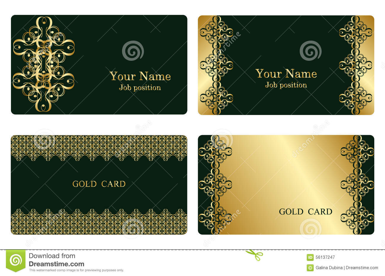Gold Business Cards Illustration 56137247 - Megapixl