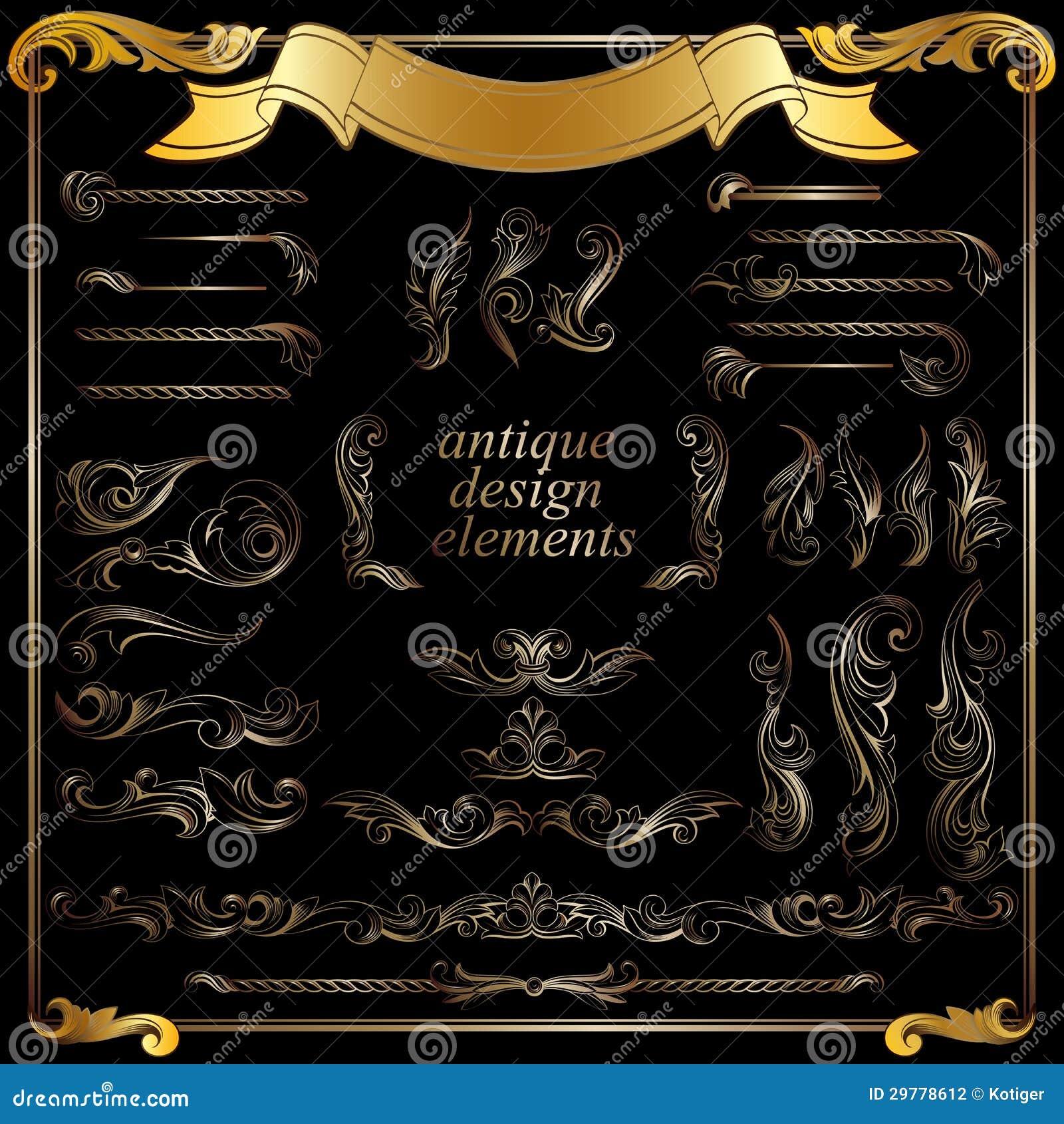 Gold calligraphic design elements decoration stock for Decoration elements
