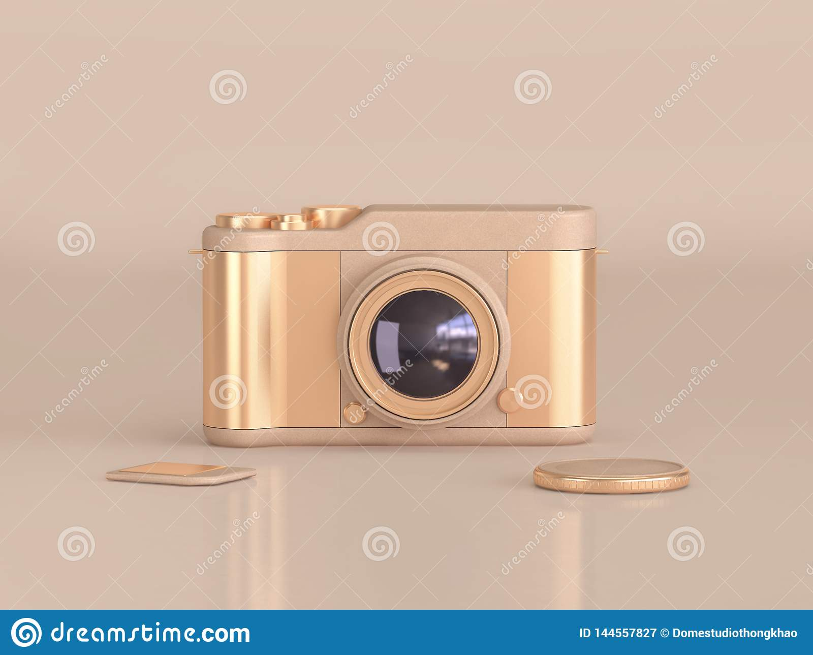 Gold camera on cream floor reflection 3d render