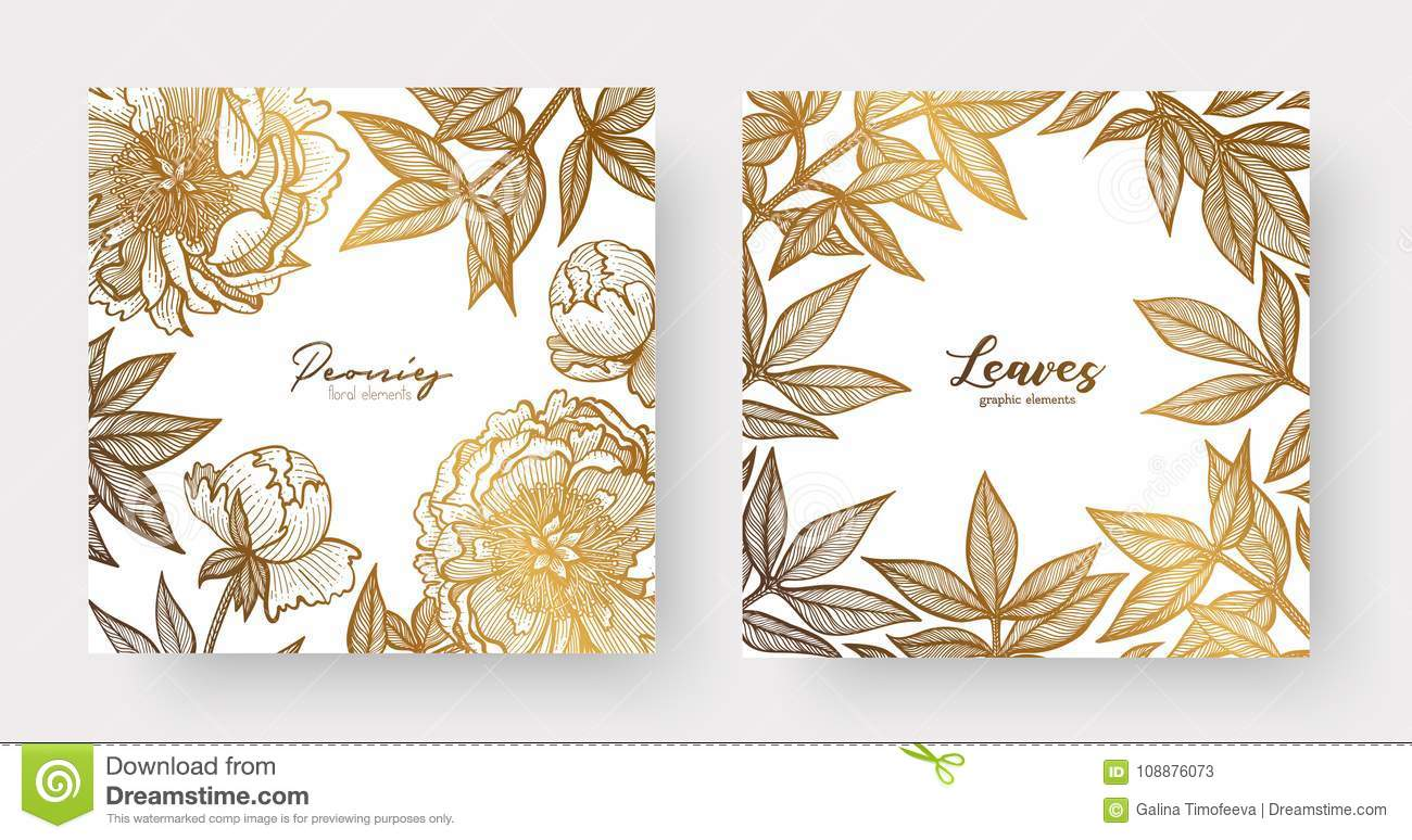 Gold Cards Templates For Wedding Stationery With Vintage Style Or
