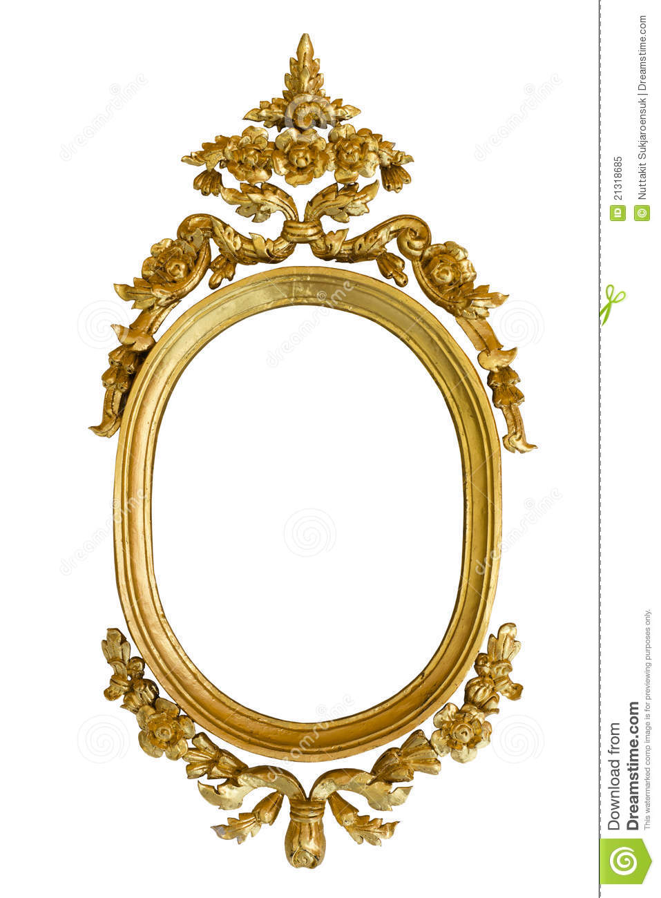 Gold Carved Oval Wood Frame Isolated Stock Photo 21318685