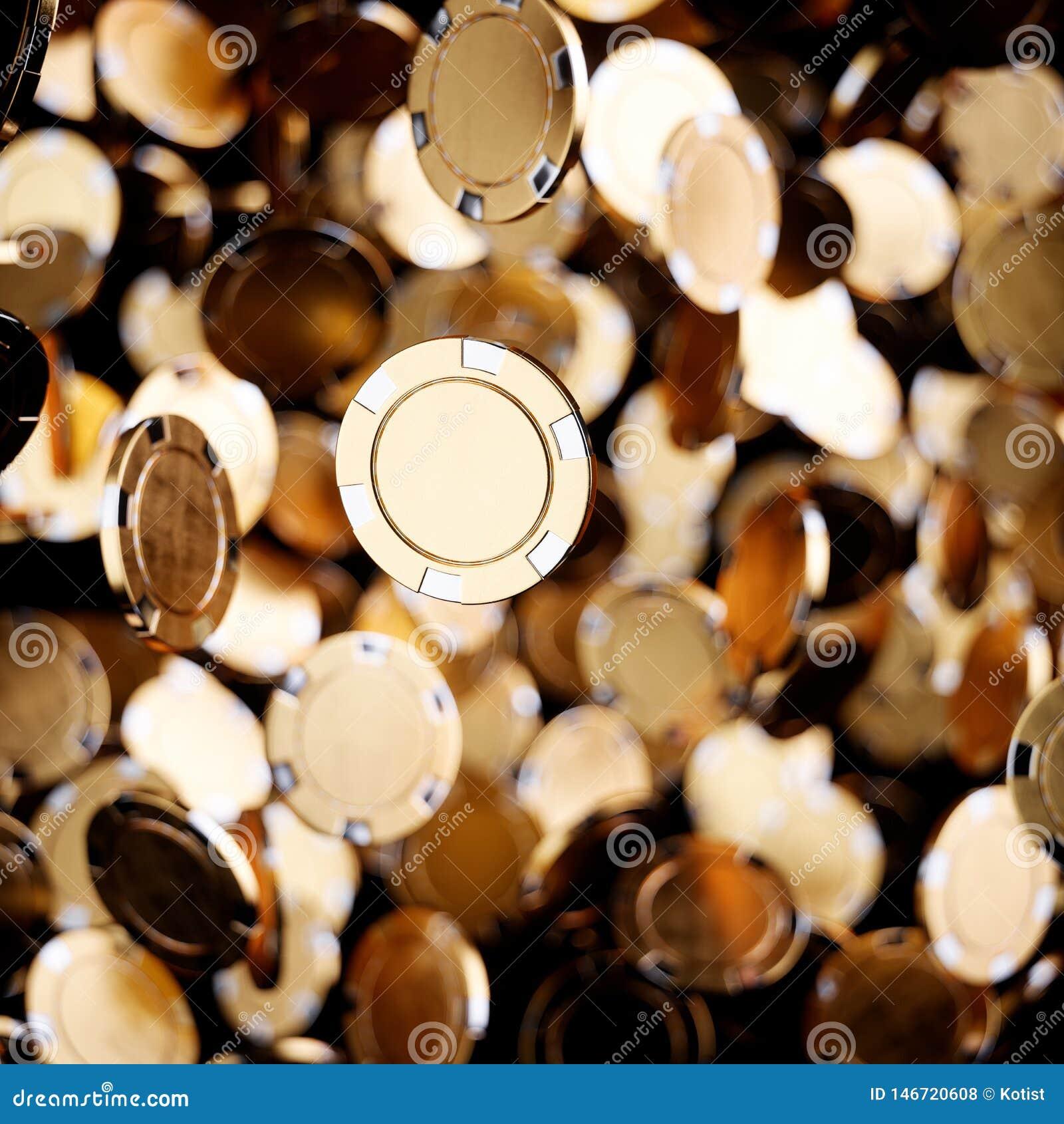 Gold casino poker chips flying