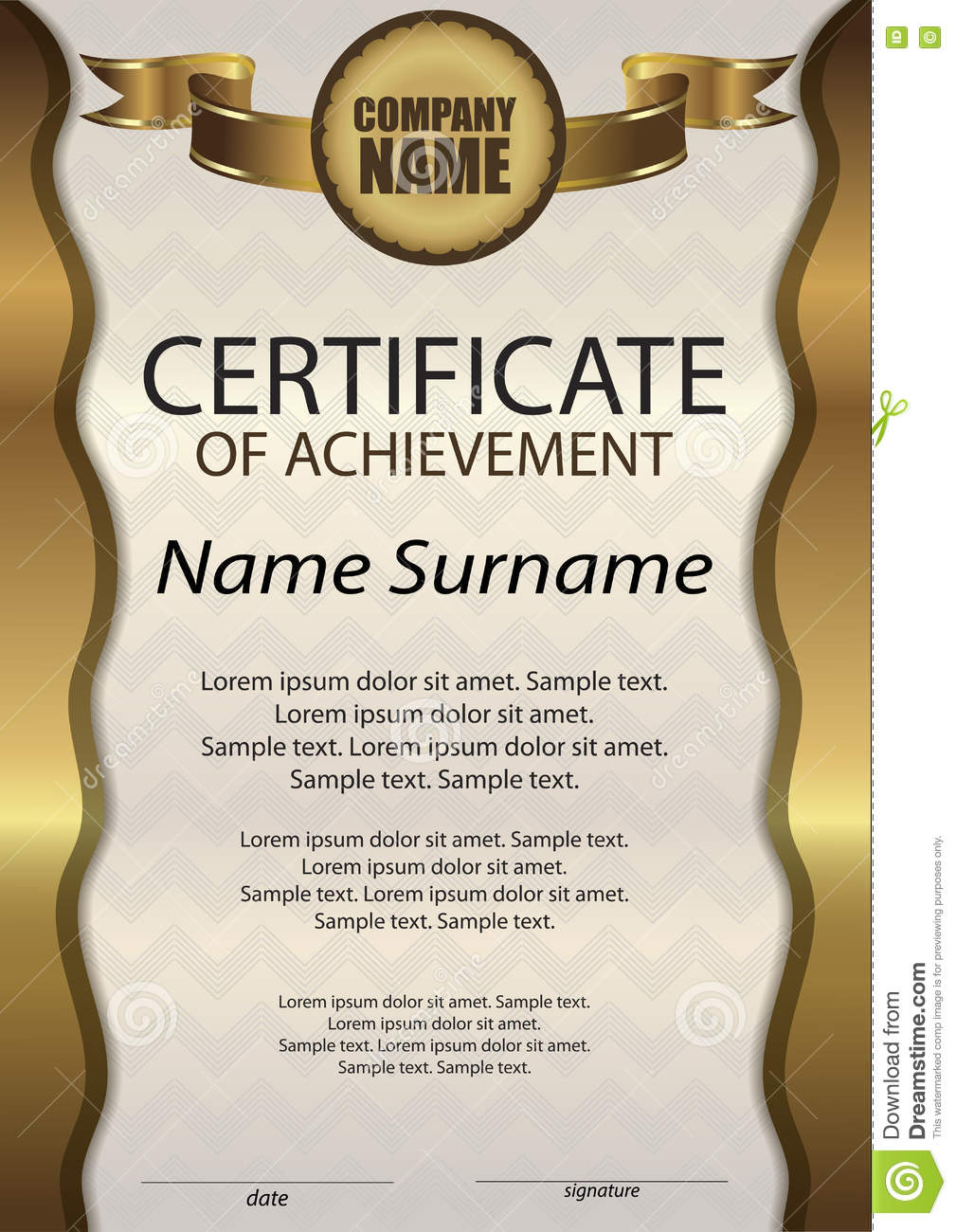 Gold Certificate Of Achievement Or Diploma Template Vertical Stock