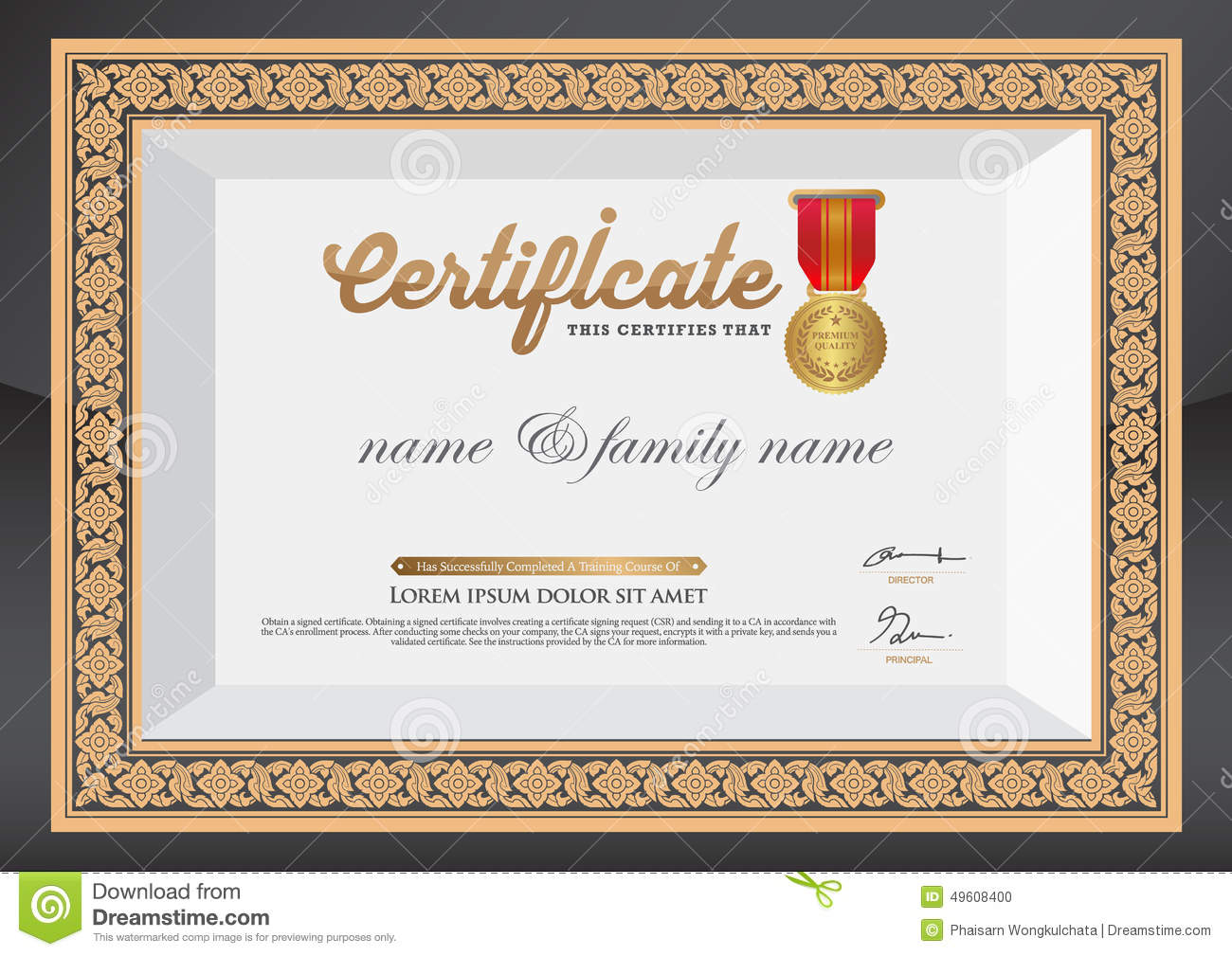 Gold certificate of completion template stock vector illustration gold certificate of completion template yelopaper Image collections