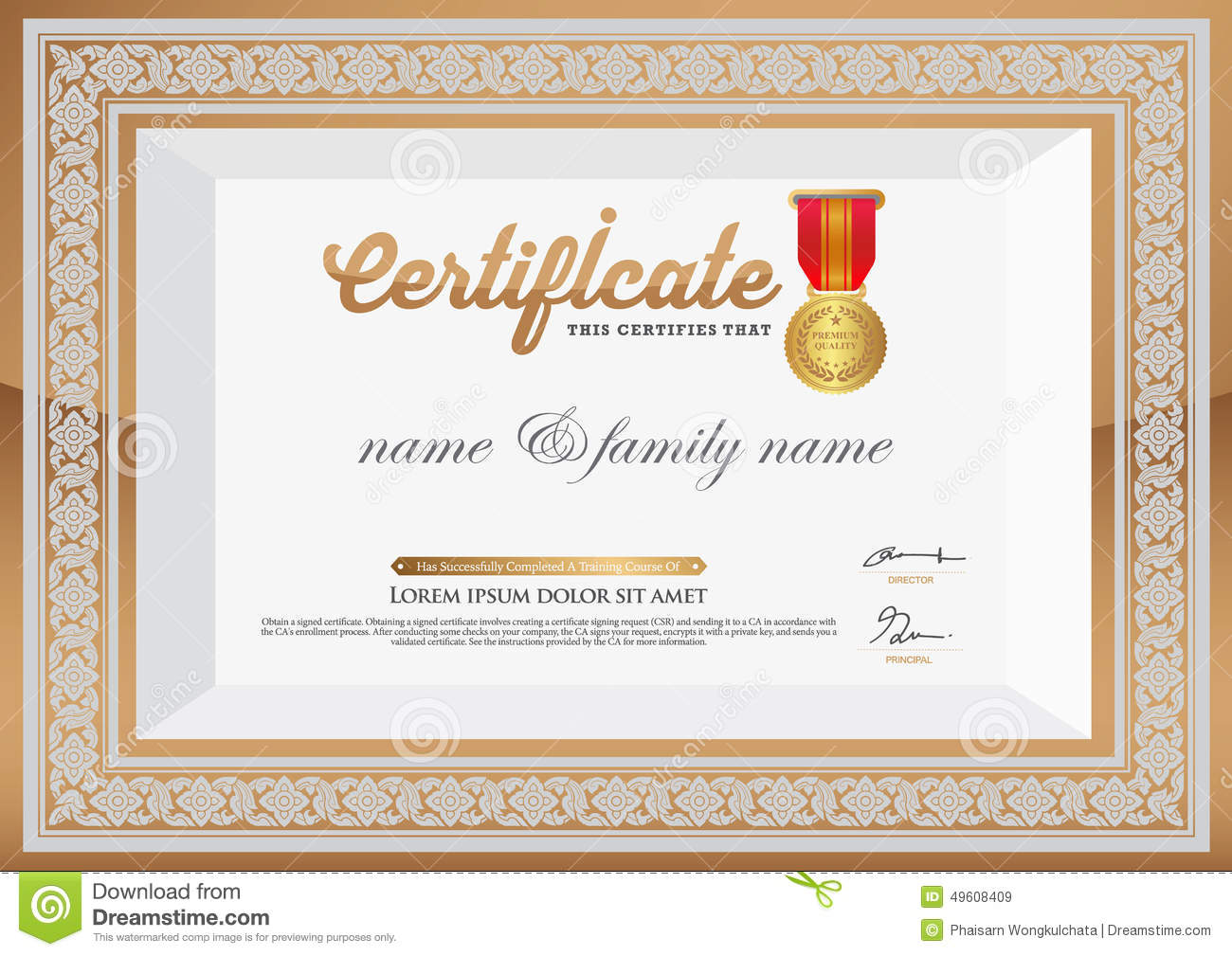 Gold Certificate Of Completion Template  Blank Certificate Of Completion Templates Free