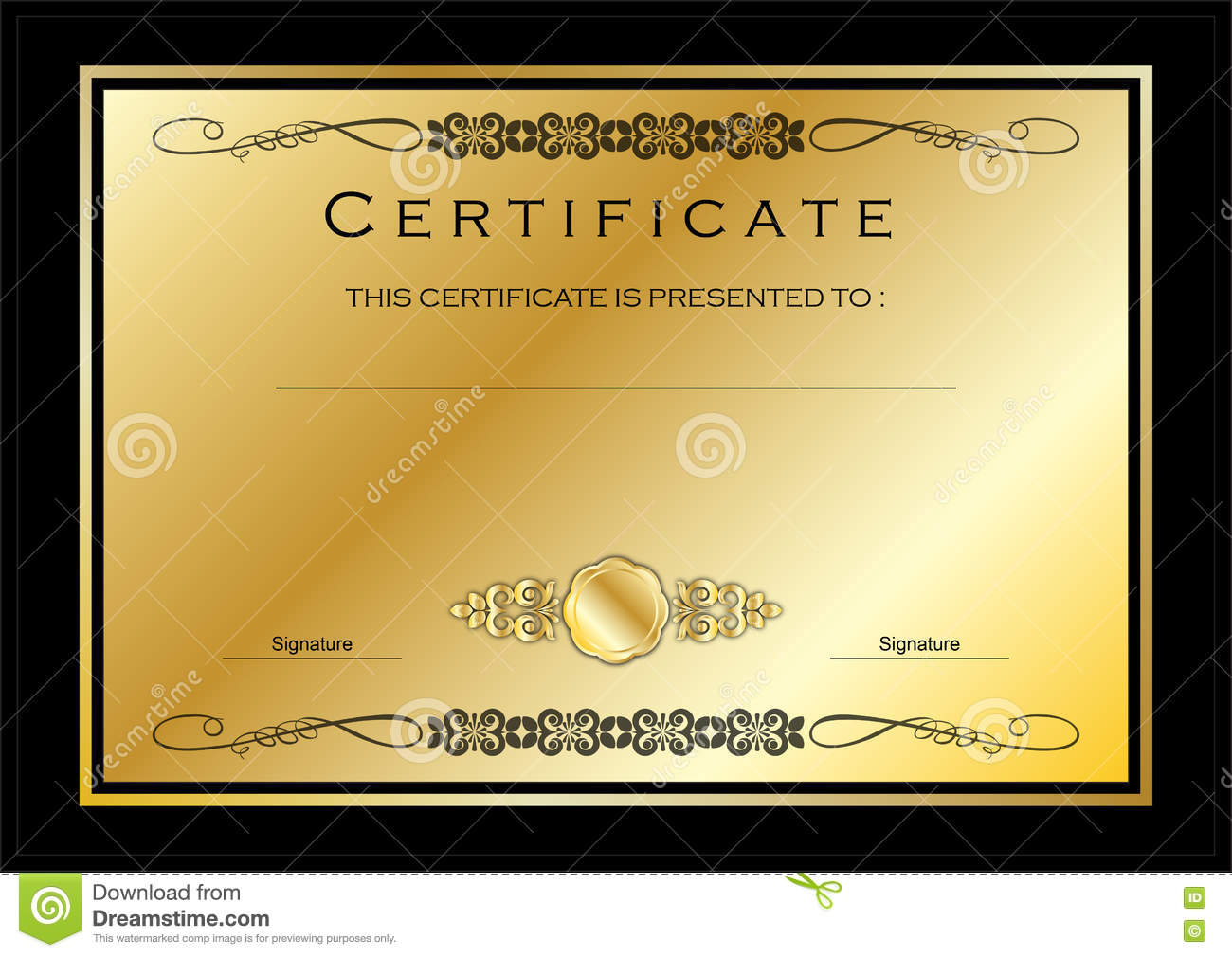 gold certificate diploma award template stock illustration