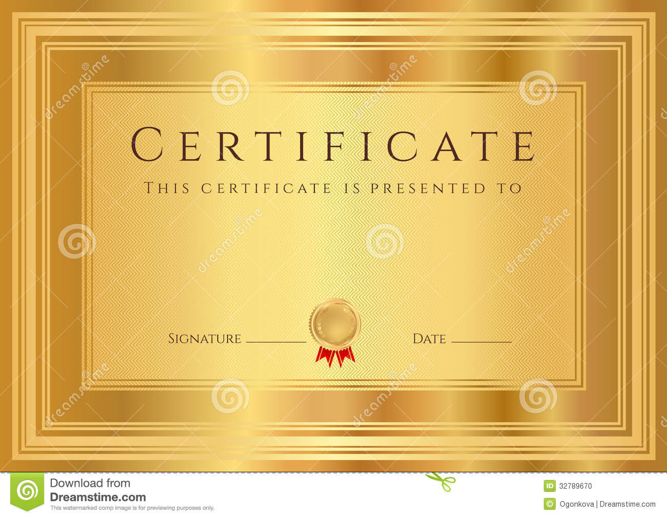 Gold Certificate / Diploma Background (template) Stock ...