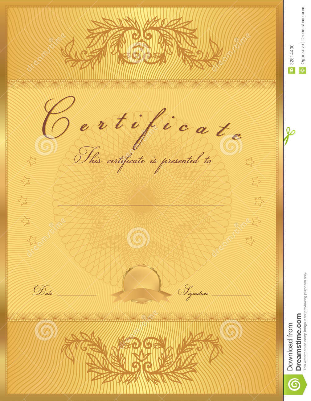 Gold Certificate / Diploma Background (template) Stock Vector ...