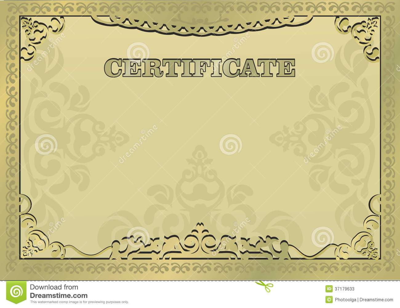 Gold Certificate. Ornamental Gold Border. EPS 10  Official Certificate Template