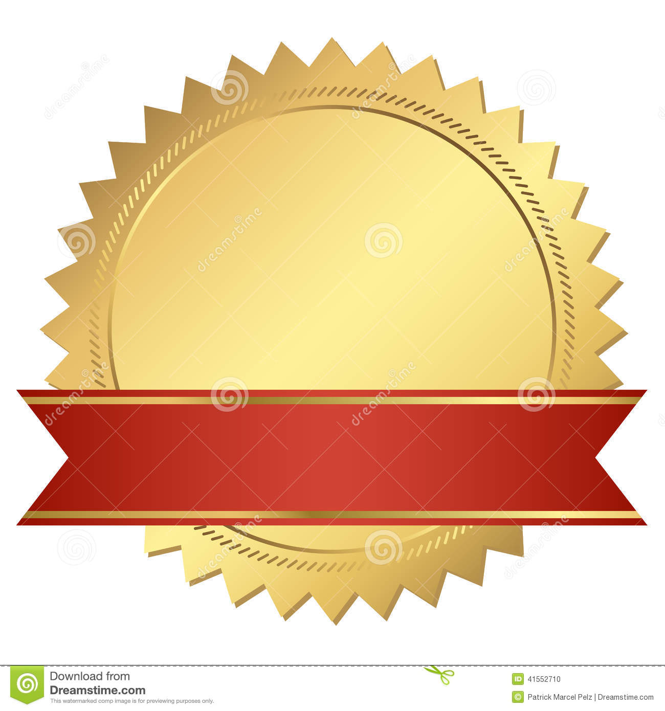 Gold Certificate With Red Banner Stock Vector Image