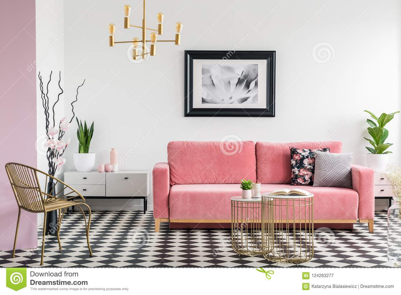 Gold Chair And Pink Sofa In Modern Living Room Interior With Poster