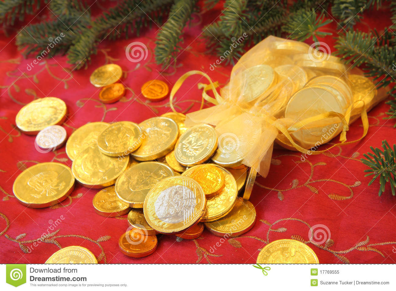 Gold Chocolate Coins For A Christmas Gift Royalty Free Stock Photo ...