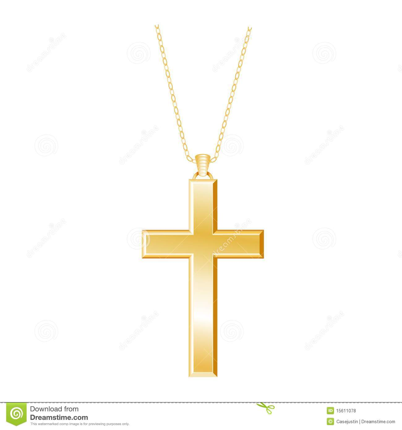 Gold embossed christian cross with gold chain white background eps8