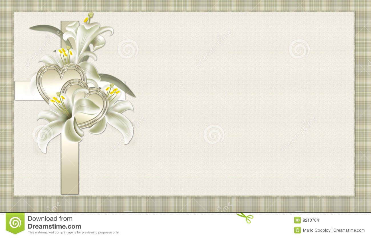 Gold Christian Cross with Flowers Background