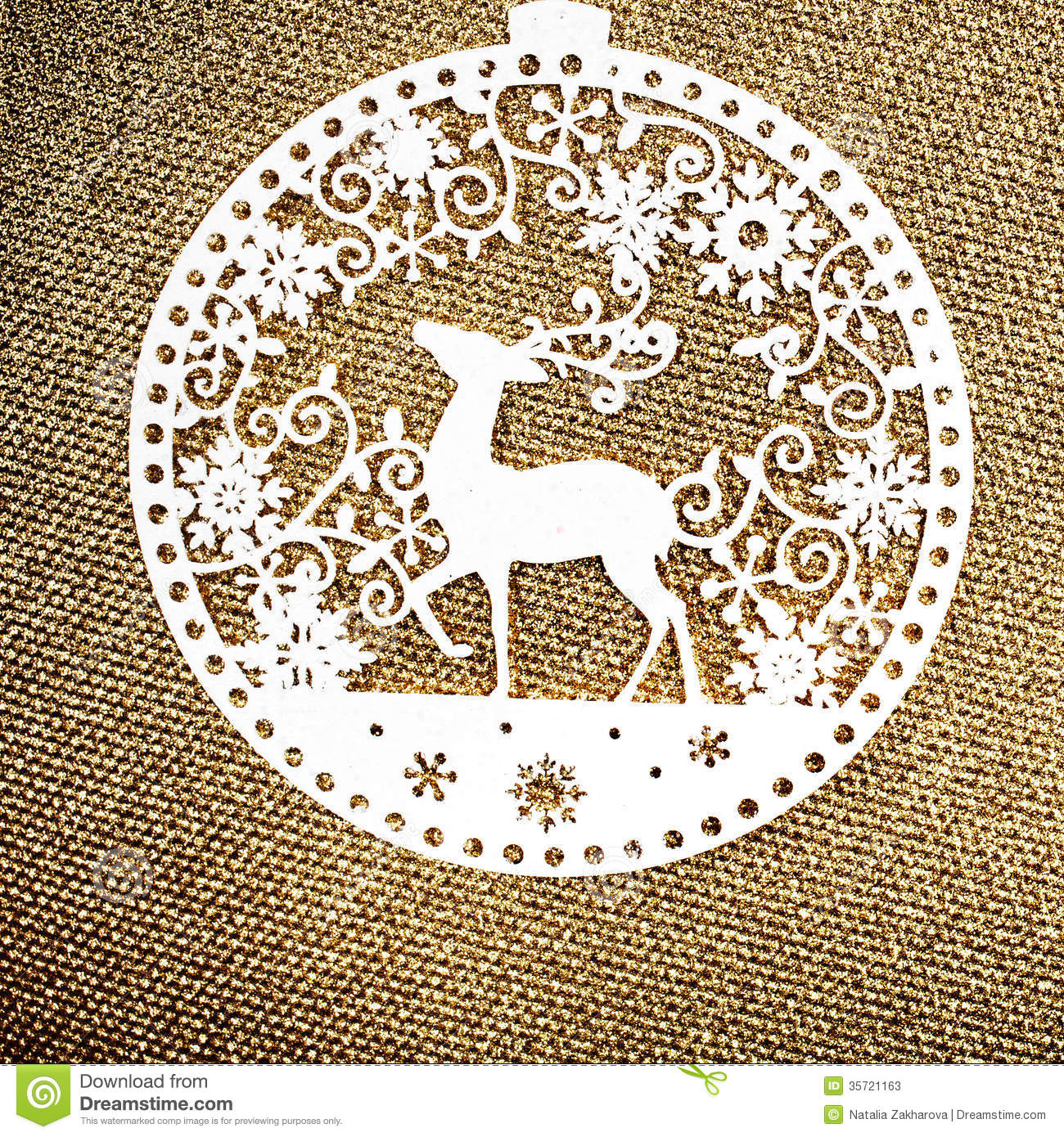 Gold Christmas Background With White Christmas Ornament