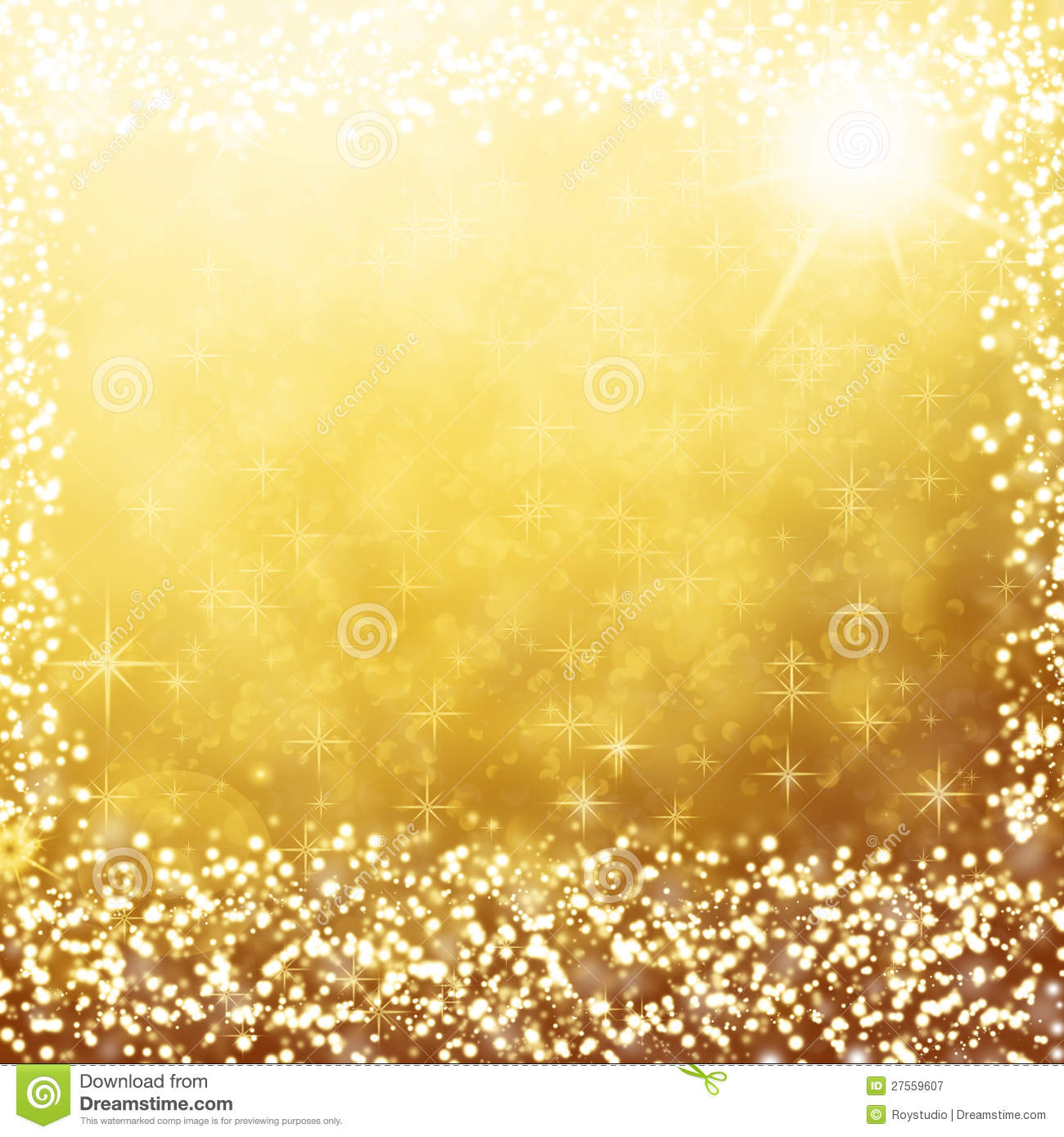 Gold Christmas Background White Lights And Stars Stock Illustration - Image: 27559607