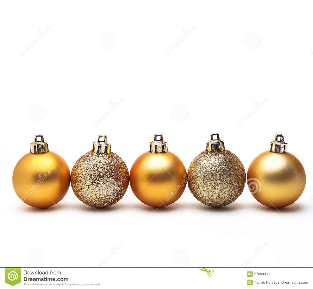 Gold christmas ball isolated on white background stock